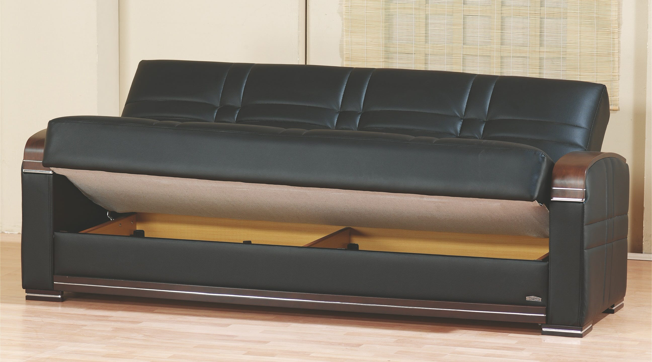 Bronx Black Leather Sofa Bed By Empire Furniture USA