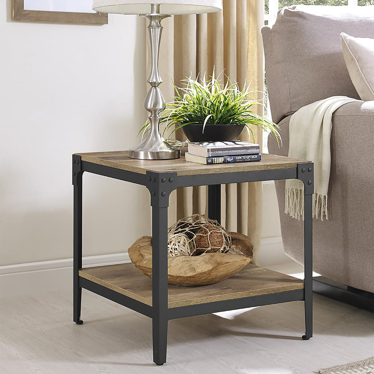 Strange Angle Iron Rustic Wood End Table Set Of 2 Barnwood By Walker Edison Caraccident5 Cool Chair Designs And Ideas Caraccident5Info