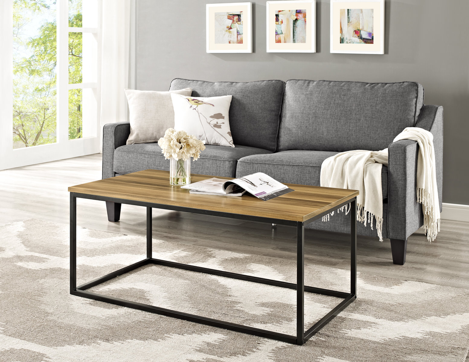 42 inch mixed material coffee table teak by walker edison