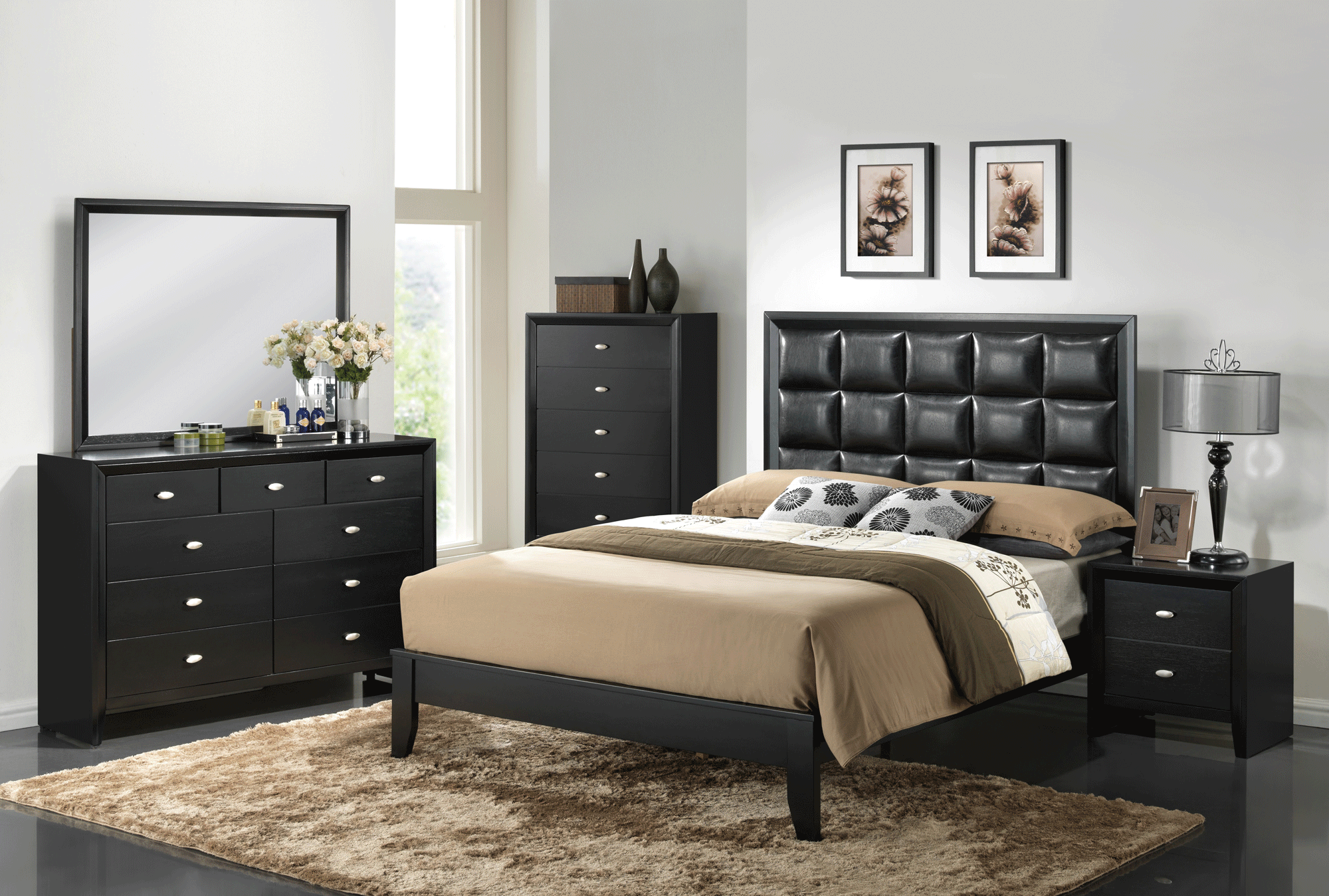 Carolina black bedroom set by global furniture for All black bedroom furniture