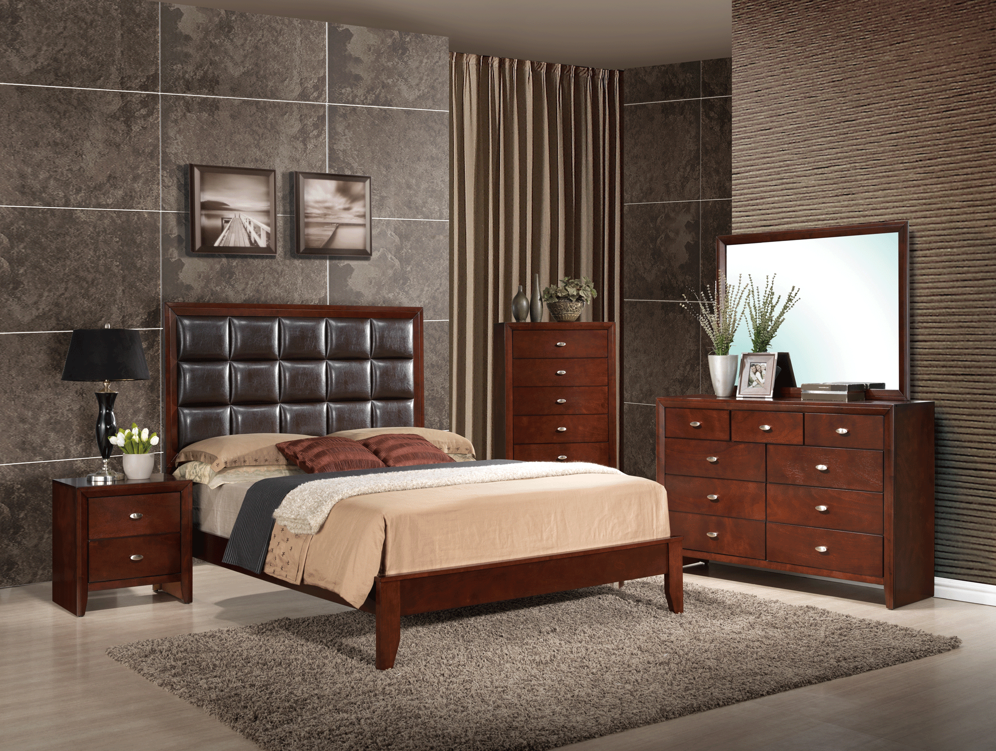 Carolina Merlot Bedroom Set By Global Furniture