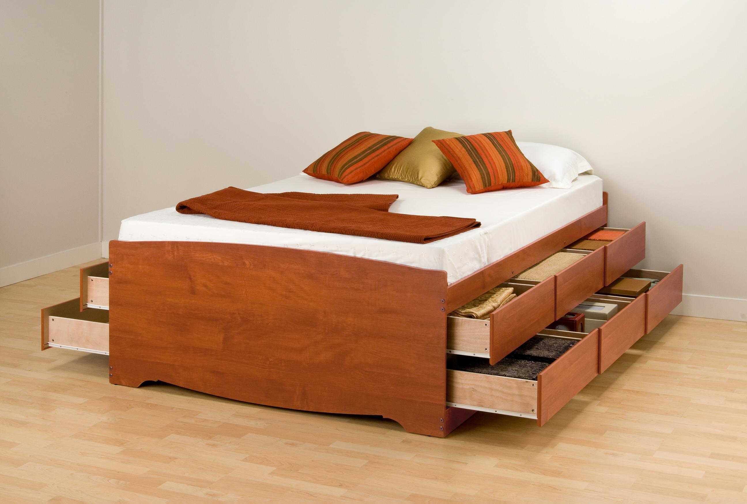 full tall platform storage bed 12 drawers by prepac cherry