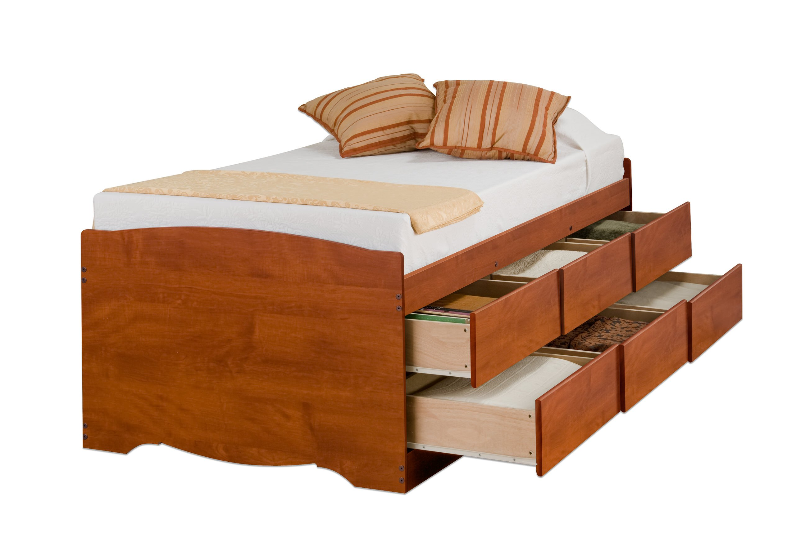 twin box bed with drawers