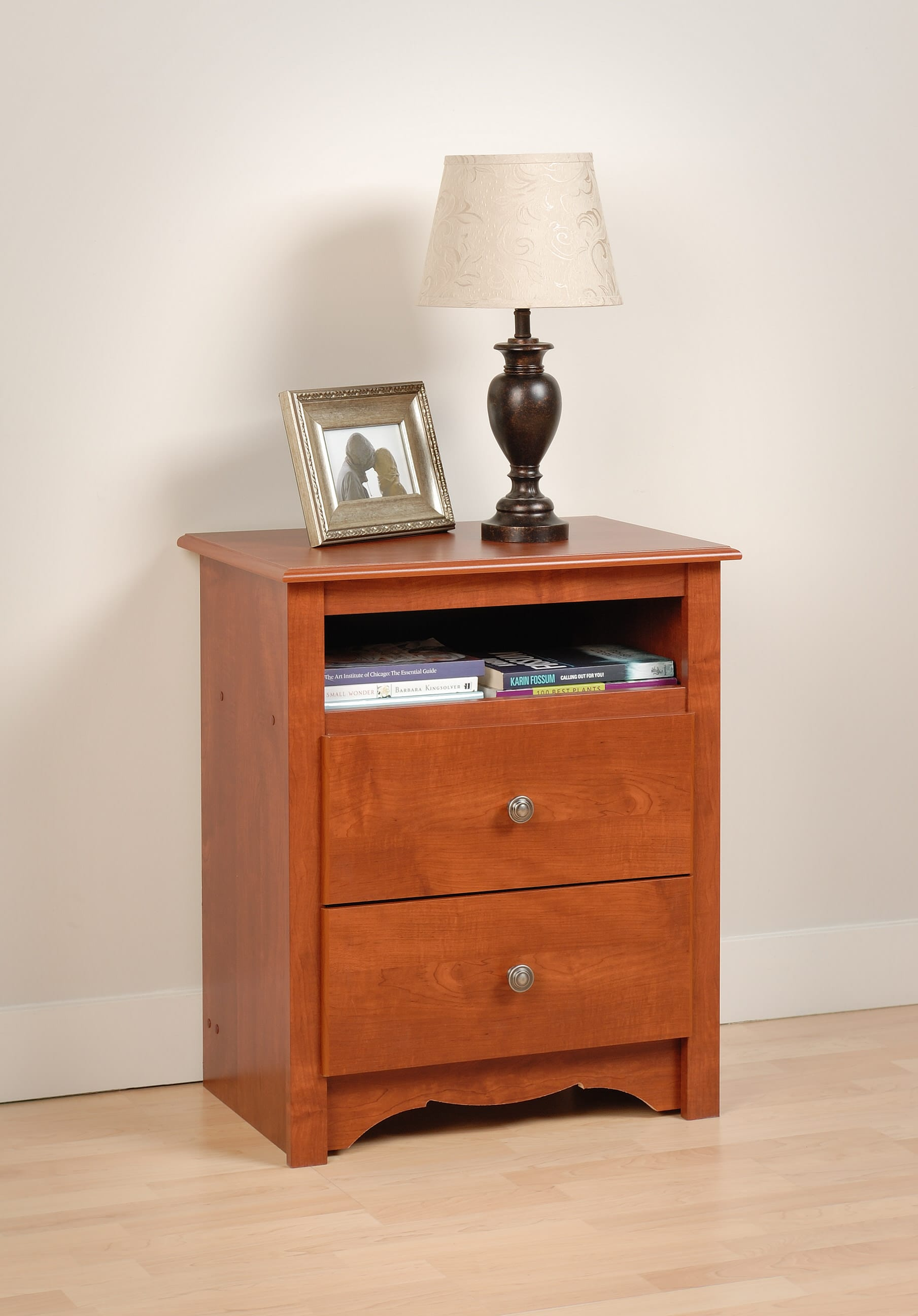 monterey 2 drawer tall nightstand with open cubbie by prepac. Black Bedroom Furniture Sets. Home Design Ideas