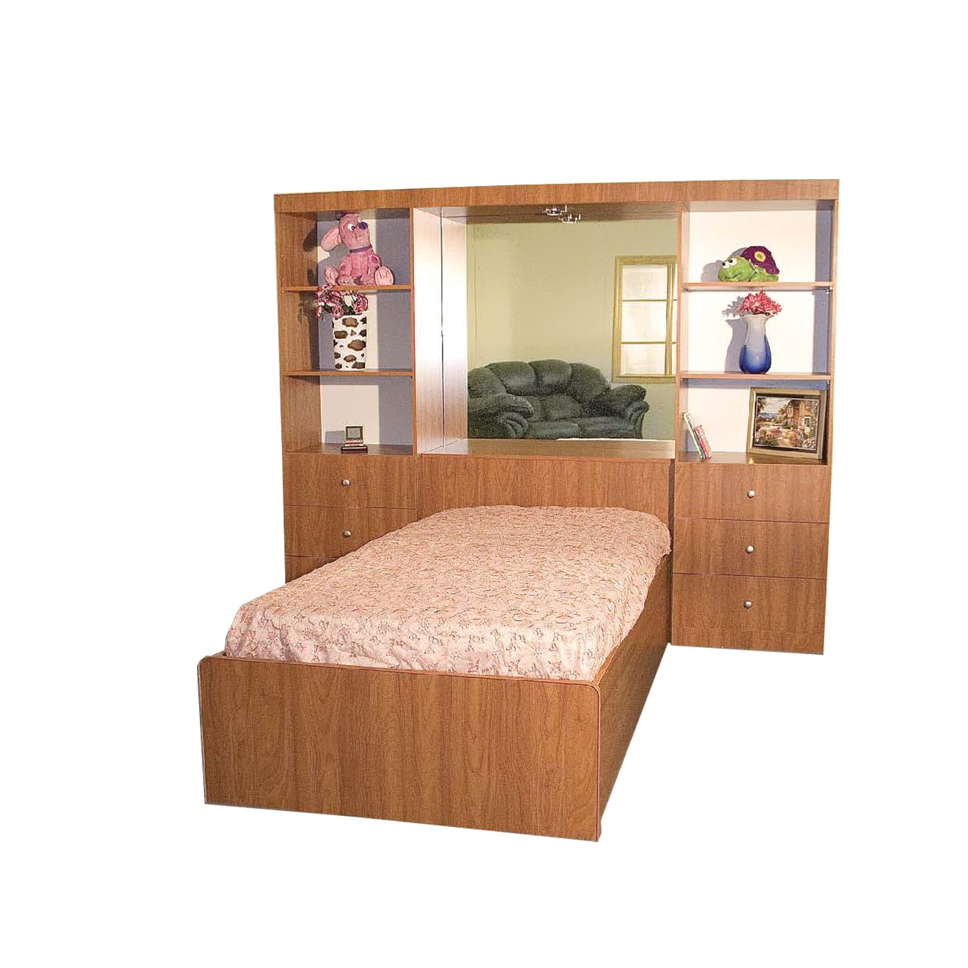 M-10 Brown Wooden Bed Wall by Central Furniture Factory