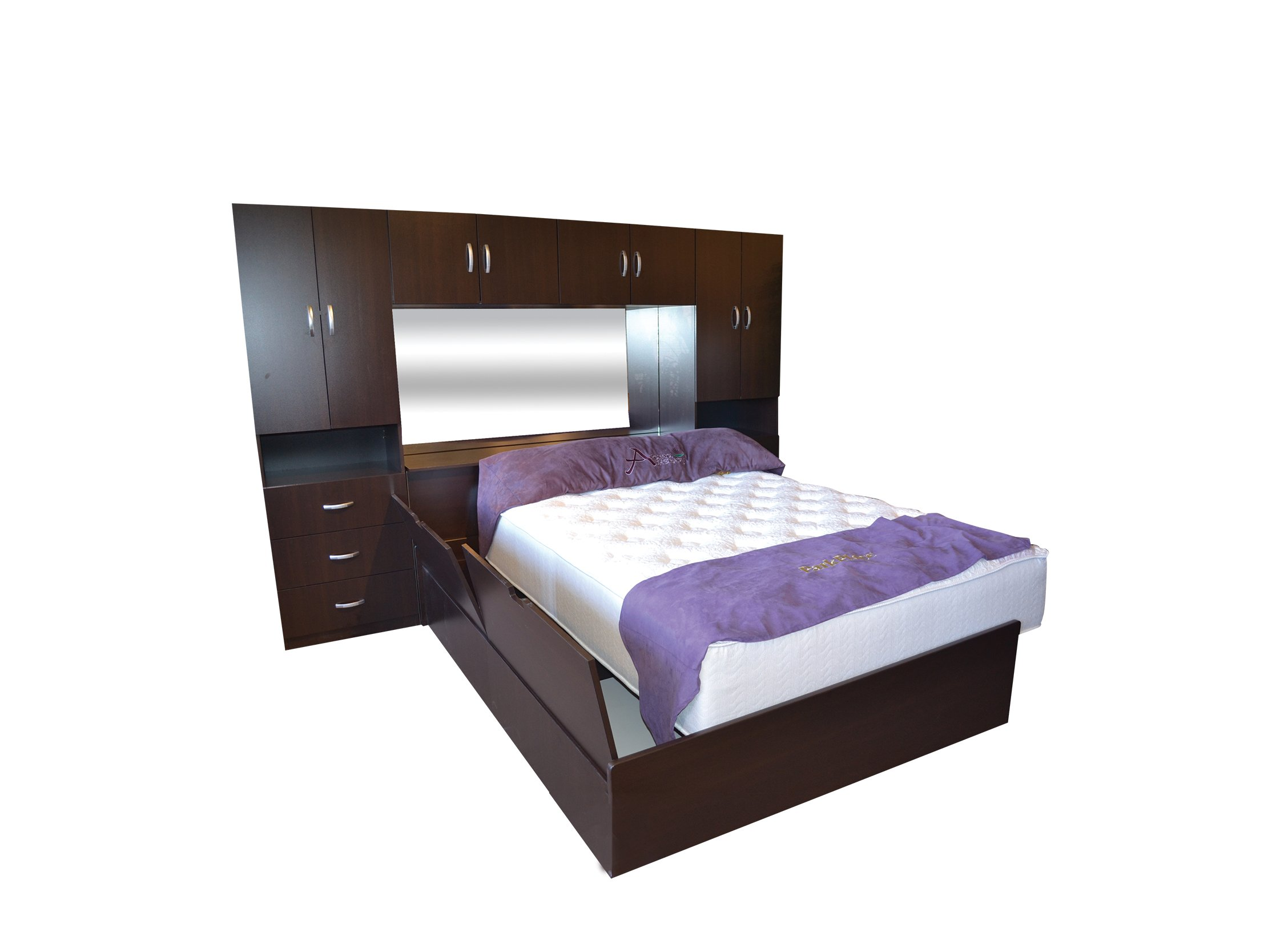 M 30 Dark Brown Wooden Bed Wall By Central Furniture Factory