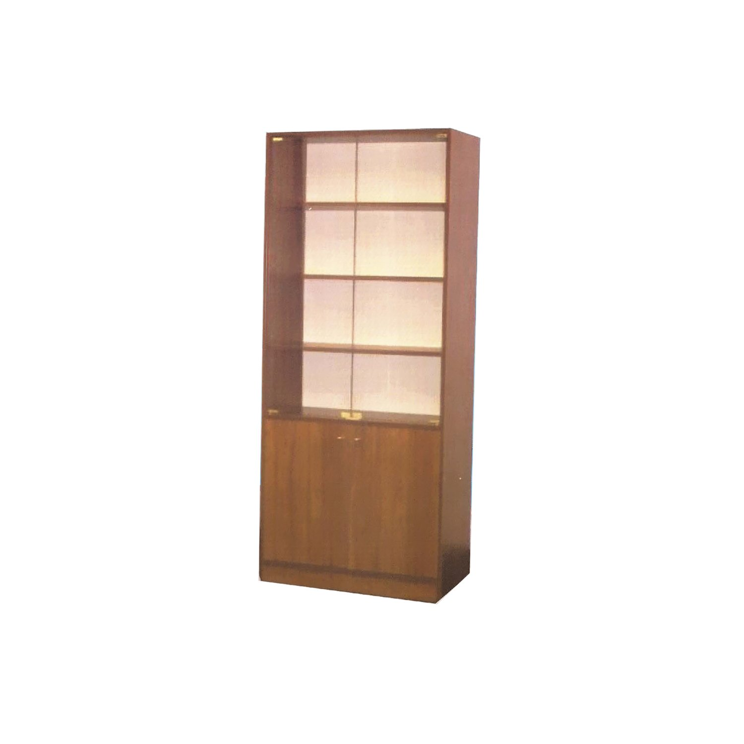low priced d3a9b f319f BK-18 Brown Wooden Bookcase w/ 2 Glass Door by Central Furniture Factory