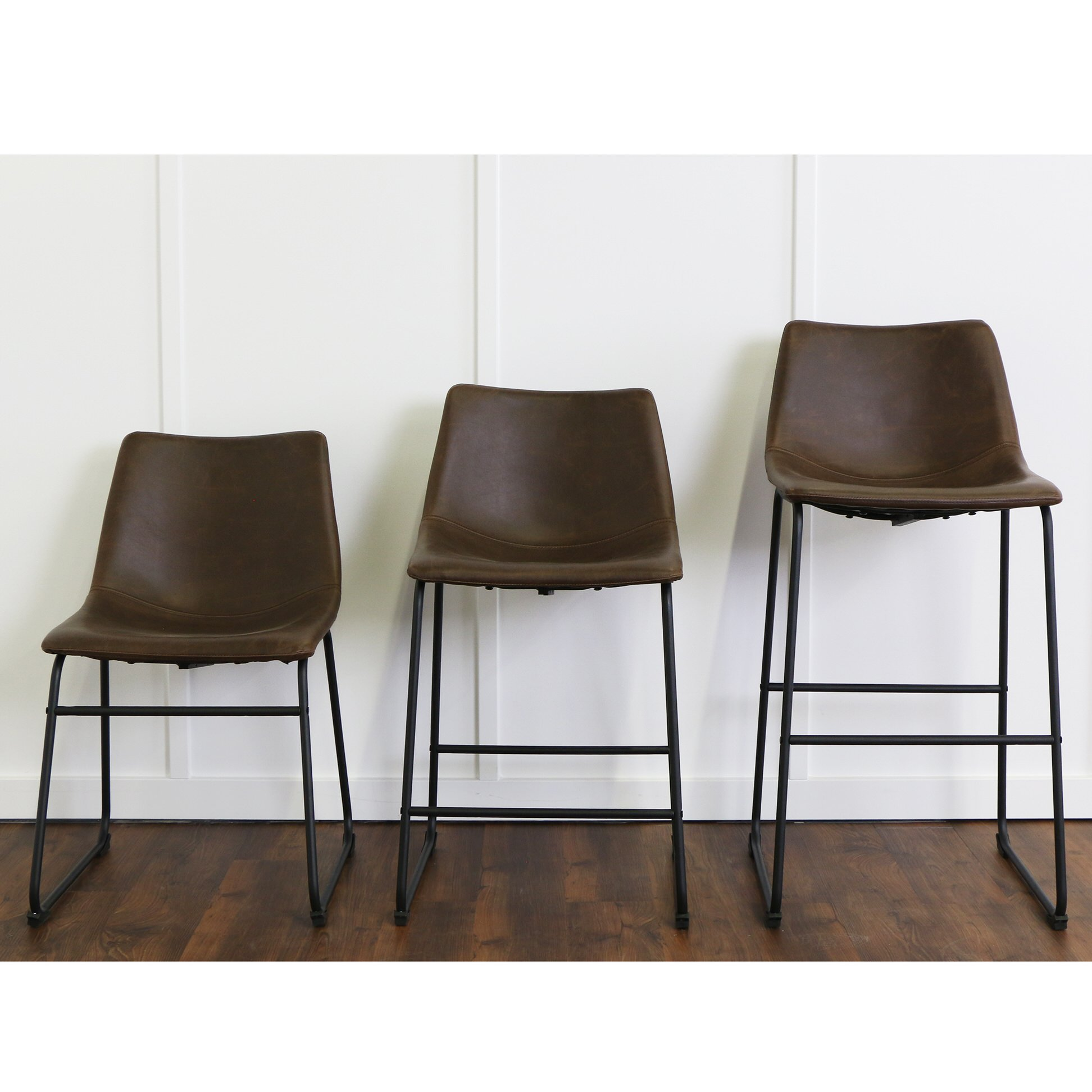 Brown Faux Leather Dining Chairs (Set of 2) by Walker Edison