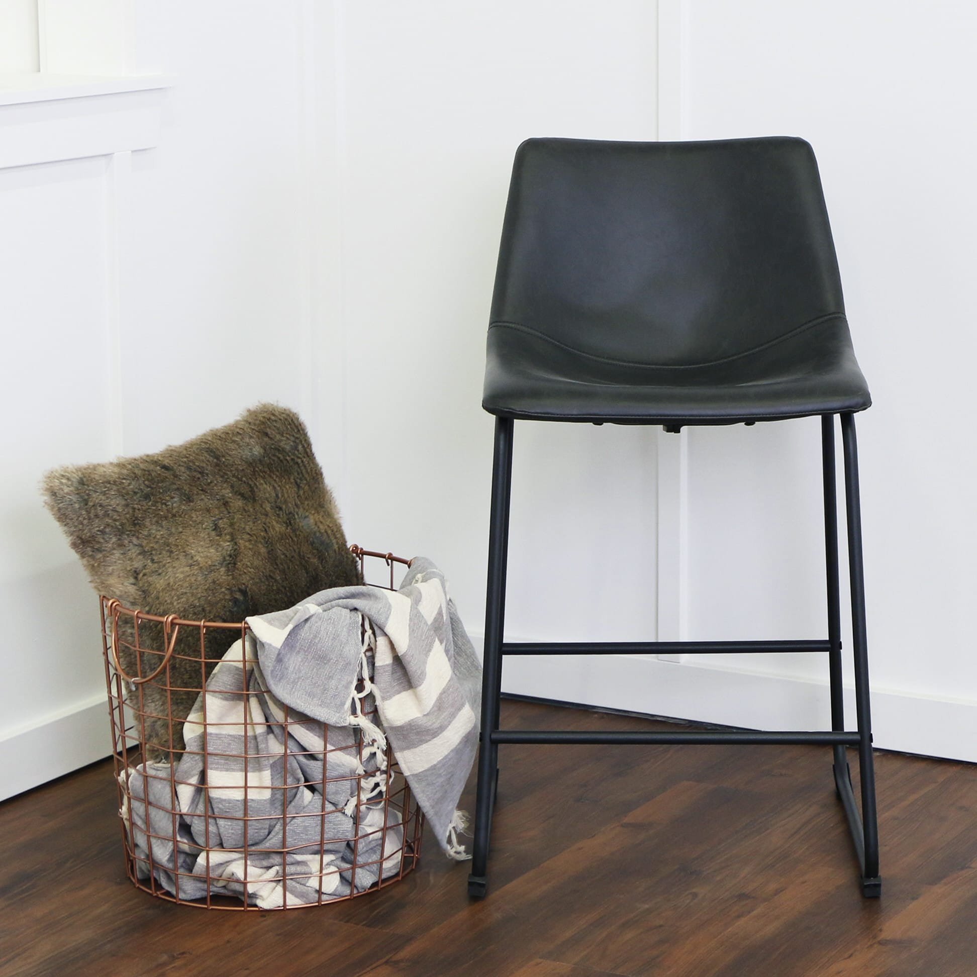 wasatch faux leather counter stools set of 2 black by walker edison - Leather Counter Stools