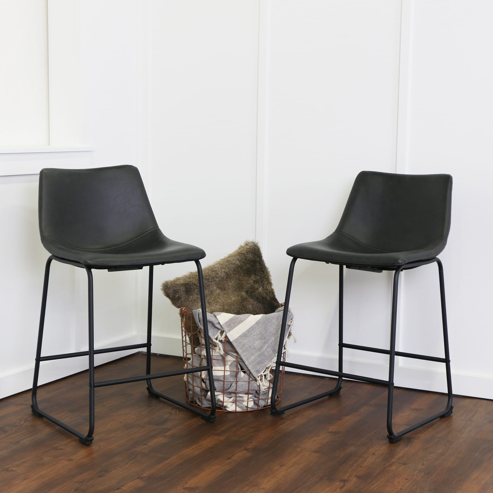 Wasatch Faux Leather Counter Stools (Set of 2) - Black by Walker ...