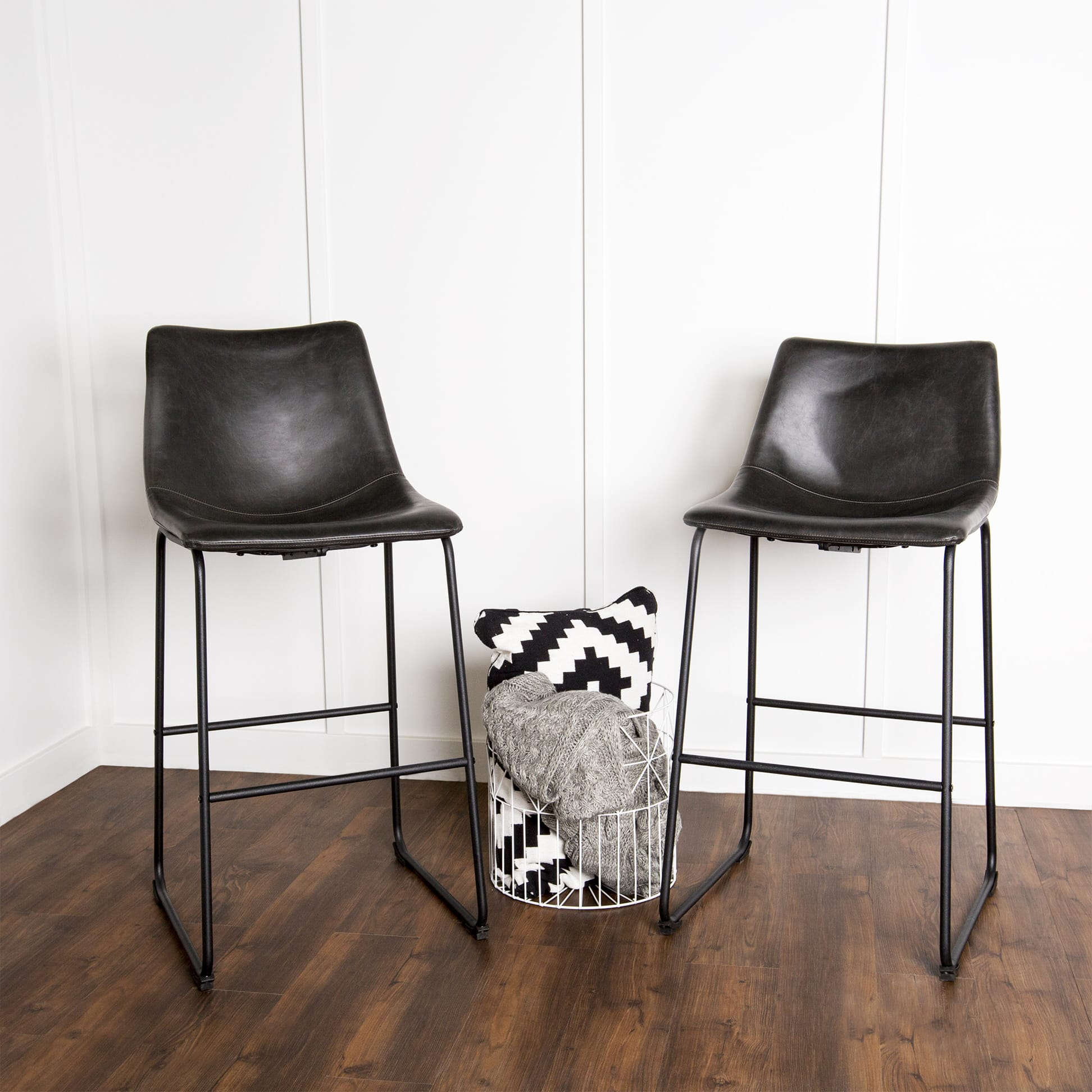 Fine Wasatch Faux Leather Bar Stools Set Of 2 Black By Walker Edison Pabps2019 Chair Design Images Pabps2019Com