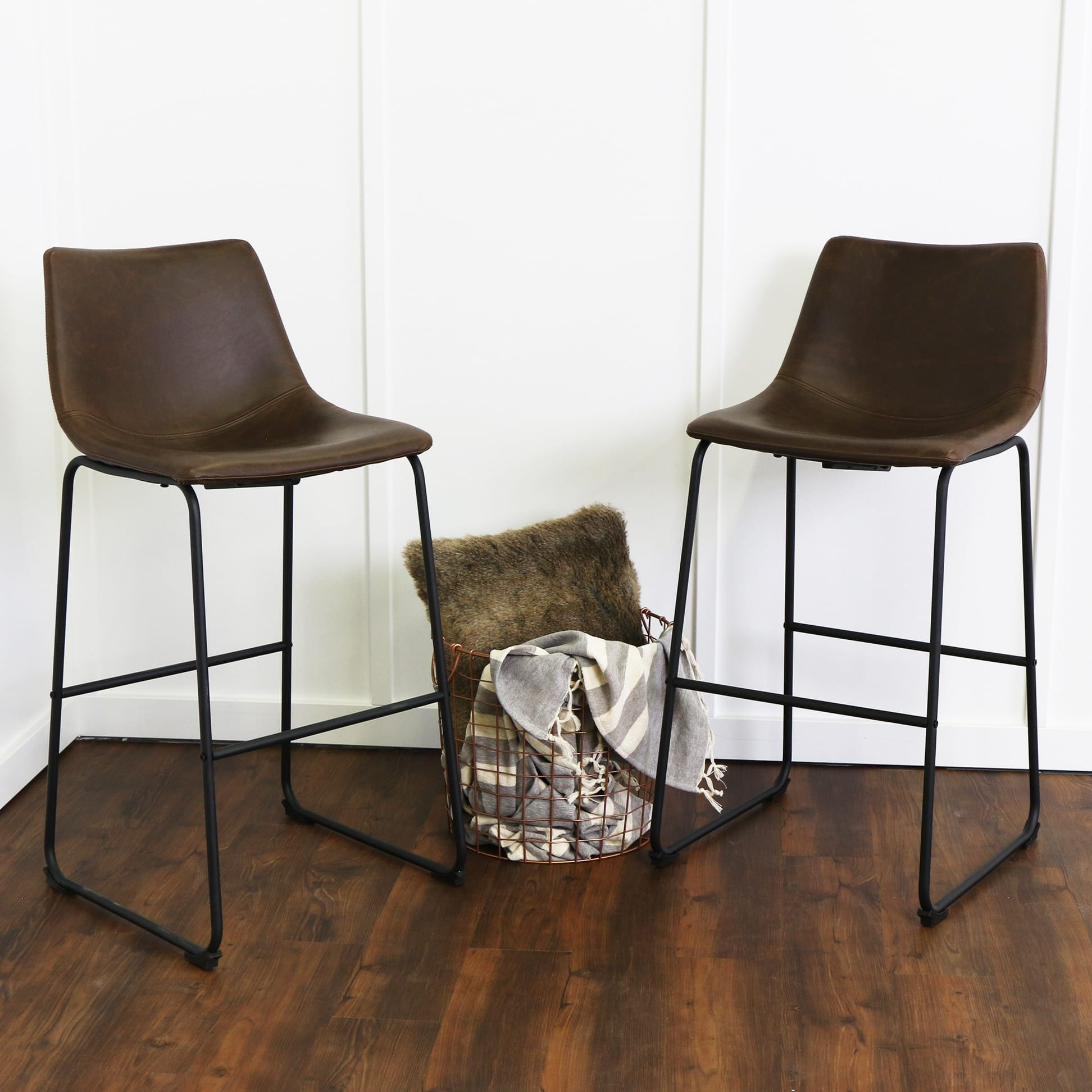wasatch faux leather bar stools set of 2 brown by walker edison. Black Bedroom Furniture Sets. Home Design Ideas