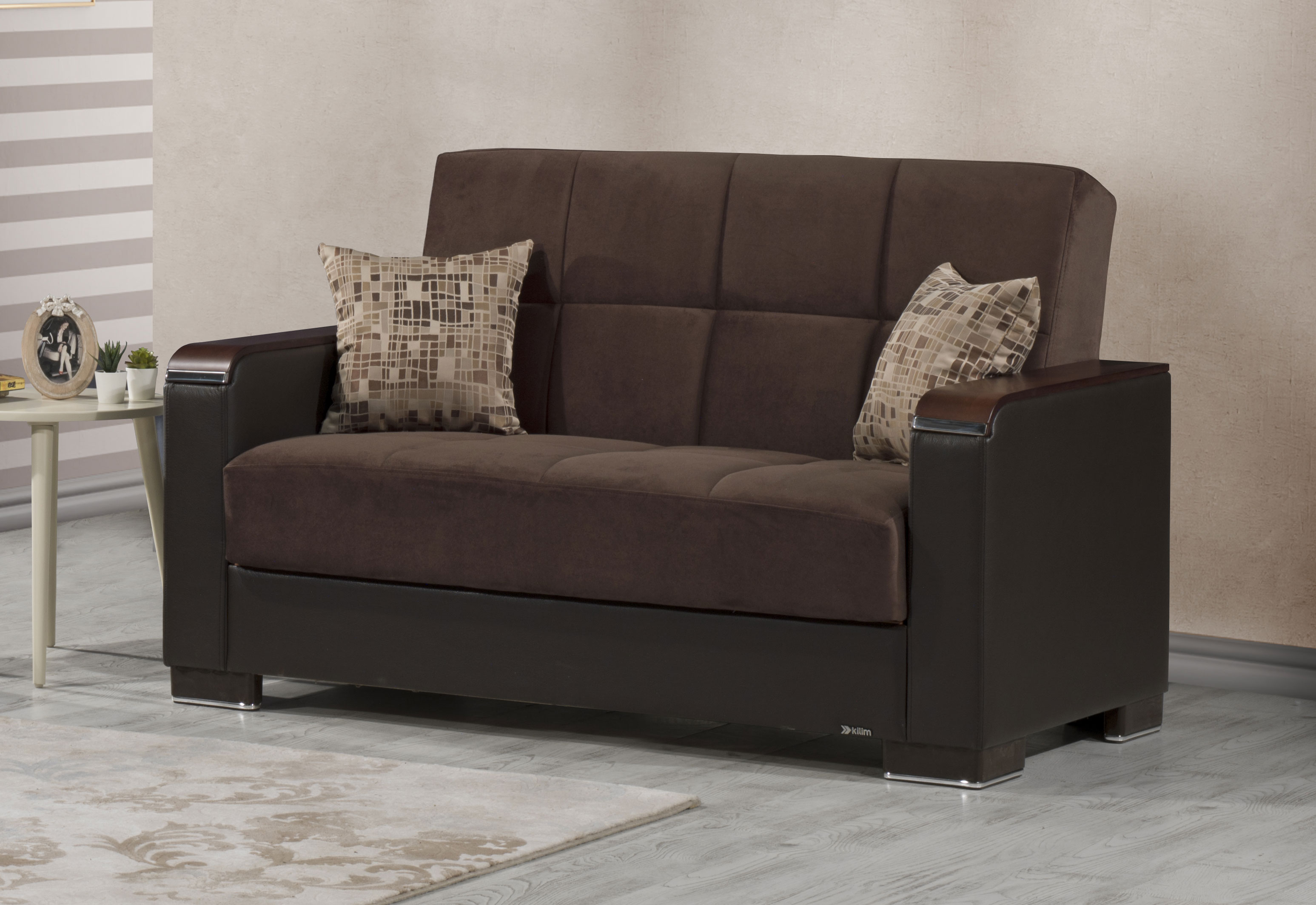 Armada X Brown Microfiber Convertible Loveseat by Casamode