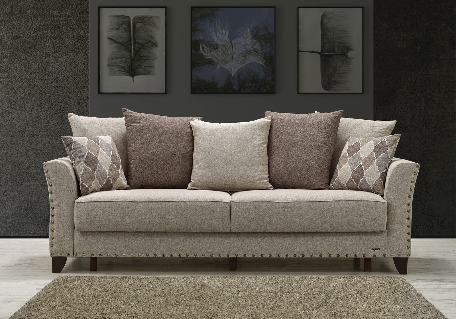 Ashley Brown Chenille Sofa Bed by Casamode