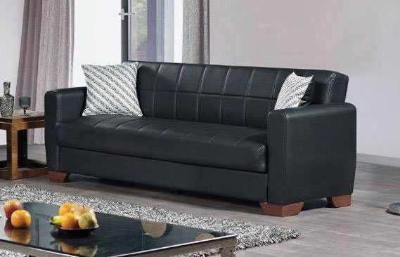 Barato Black PU Leather Convertible Sofa Bed by Casamode