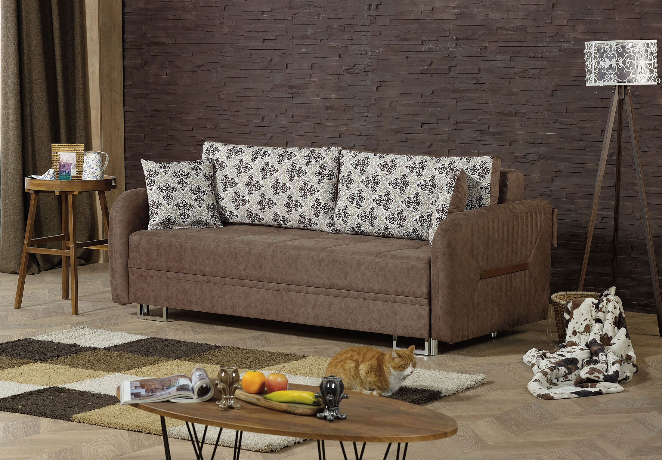 Miraculous Barcelona Brown Convertible Sofa Bed By Casamode Evergreenethics Interior Chair Design Evergreenethicsorg