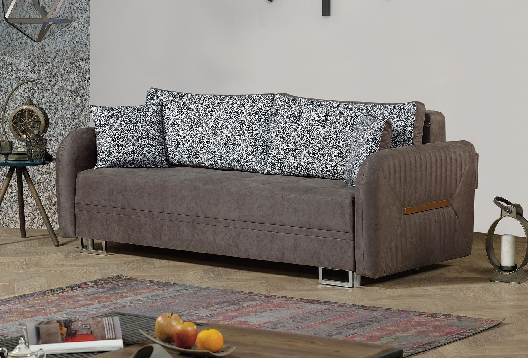 Sensational Barcelona Gray Convertible Sofa Bed By Casamode Evergreenethics Interior Chair Design Evergreenethicsorg