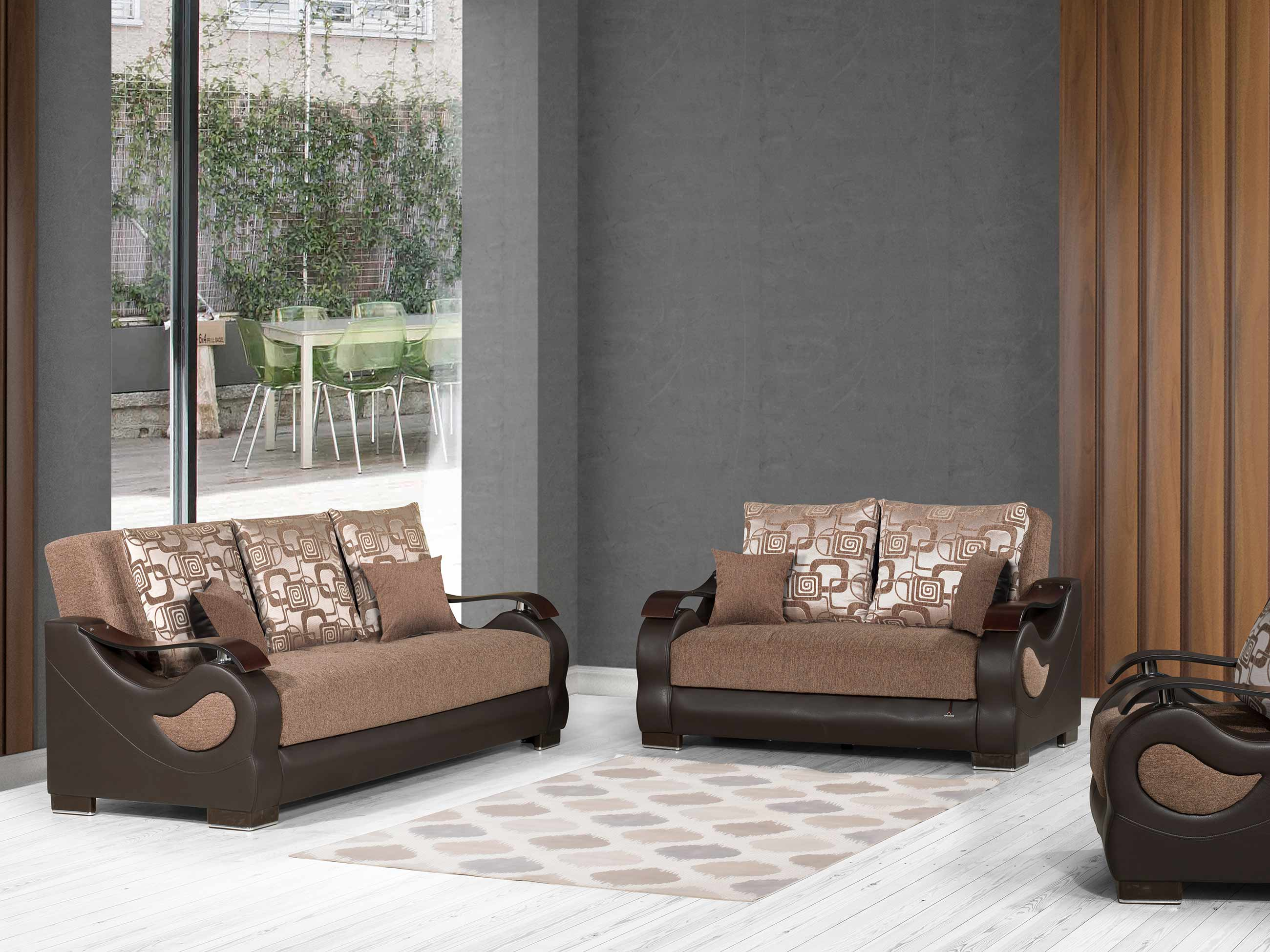 Metroplex Brown Chenille Convertible Chair by Casamode