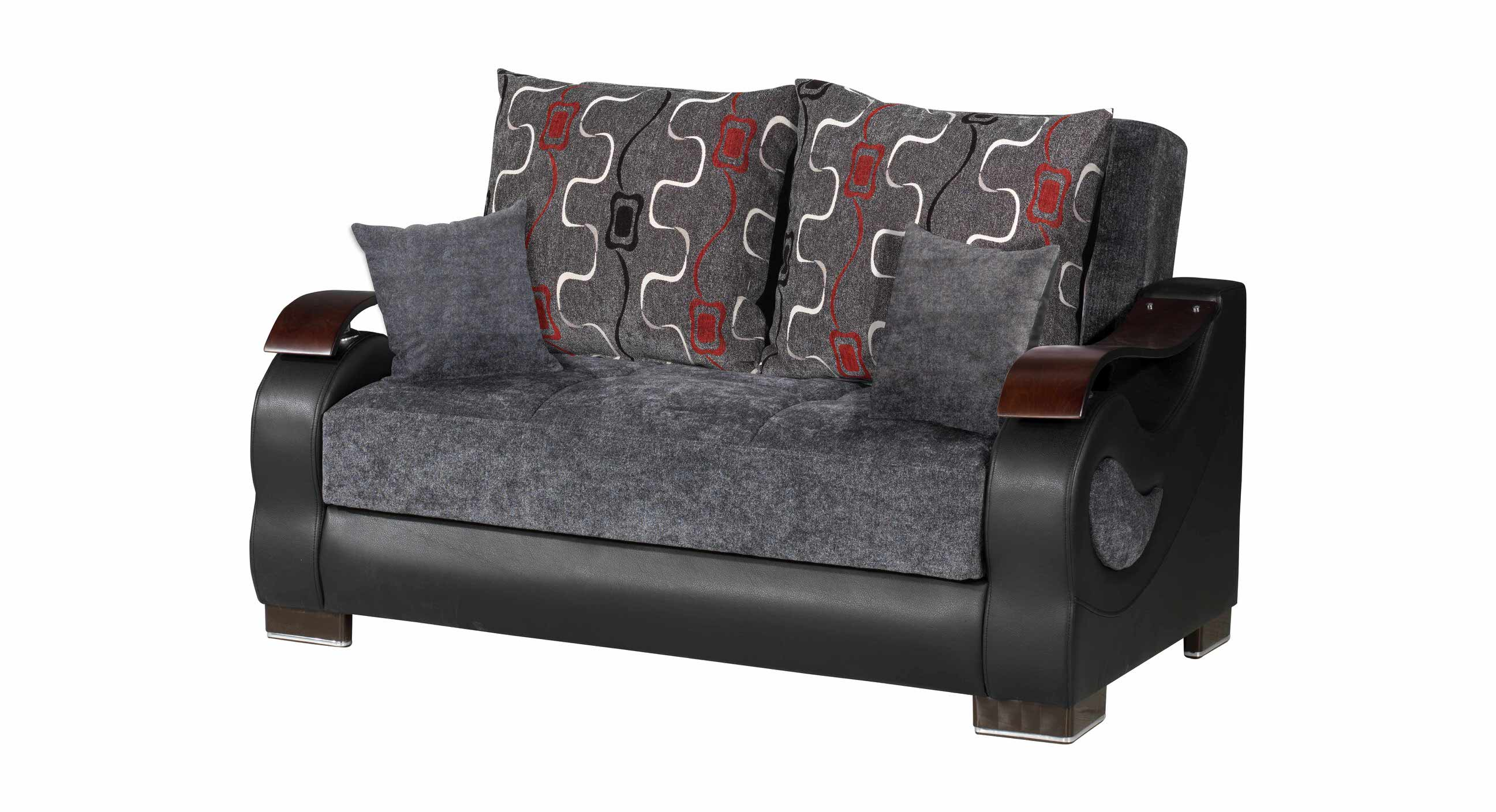 Metroplex Gray Chenille Convertible Loveseat by Casamode