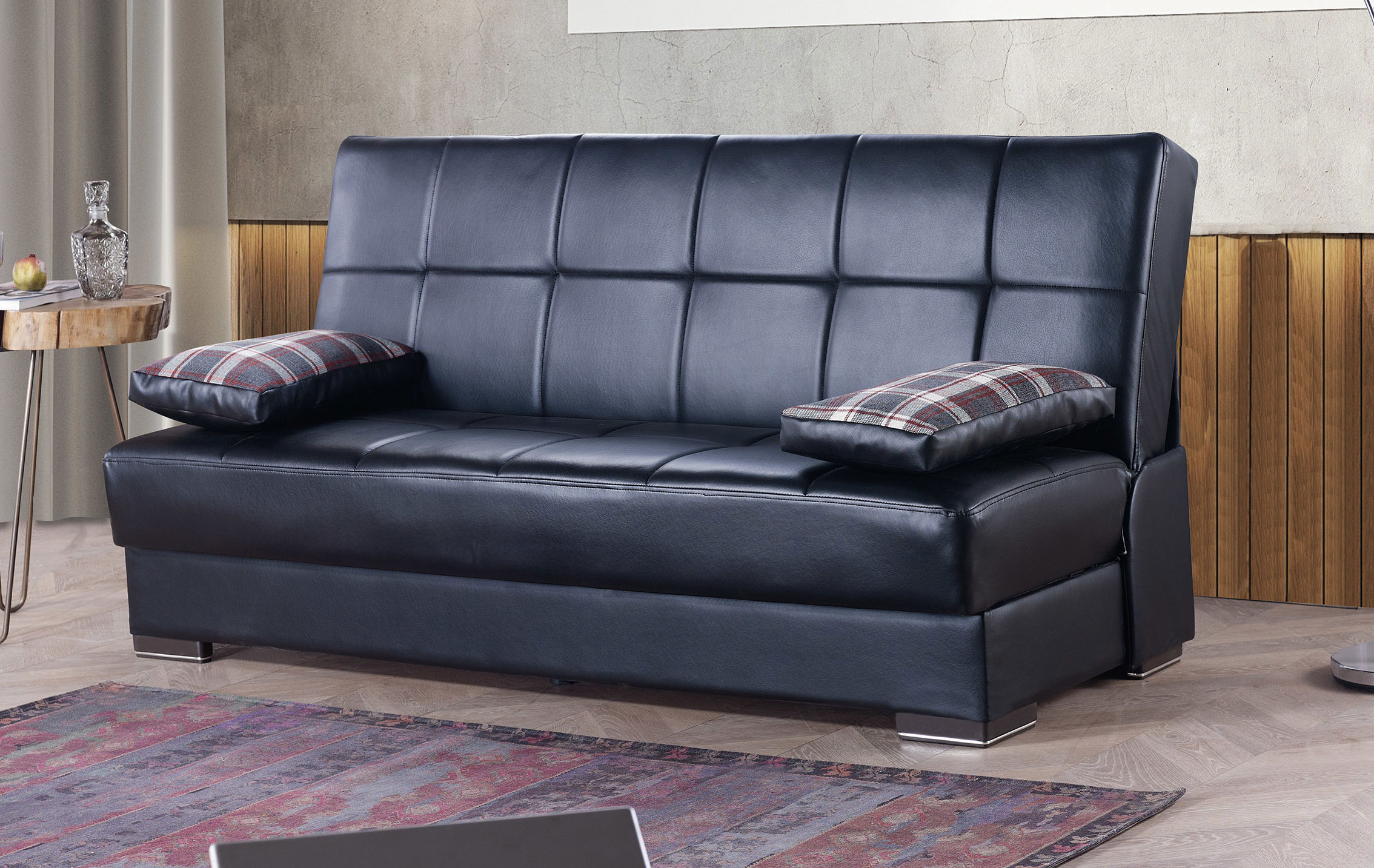 Soho Black PU Leather Convertible Sofa Bed by Casamode