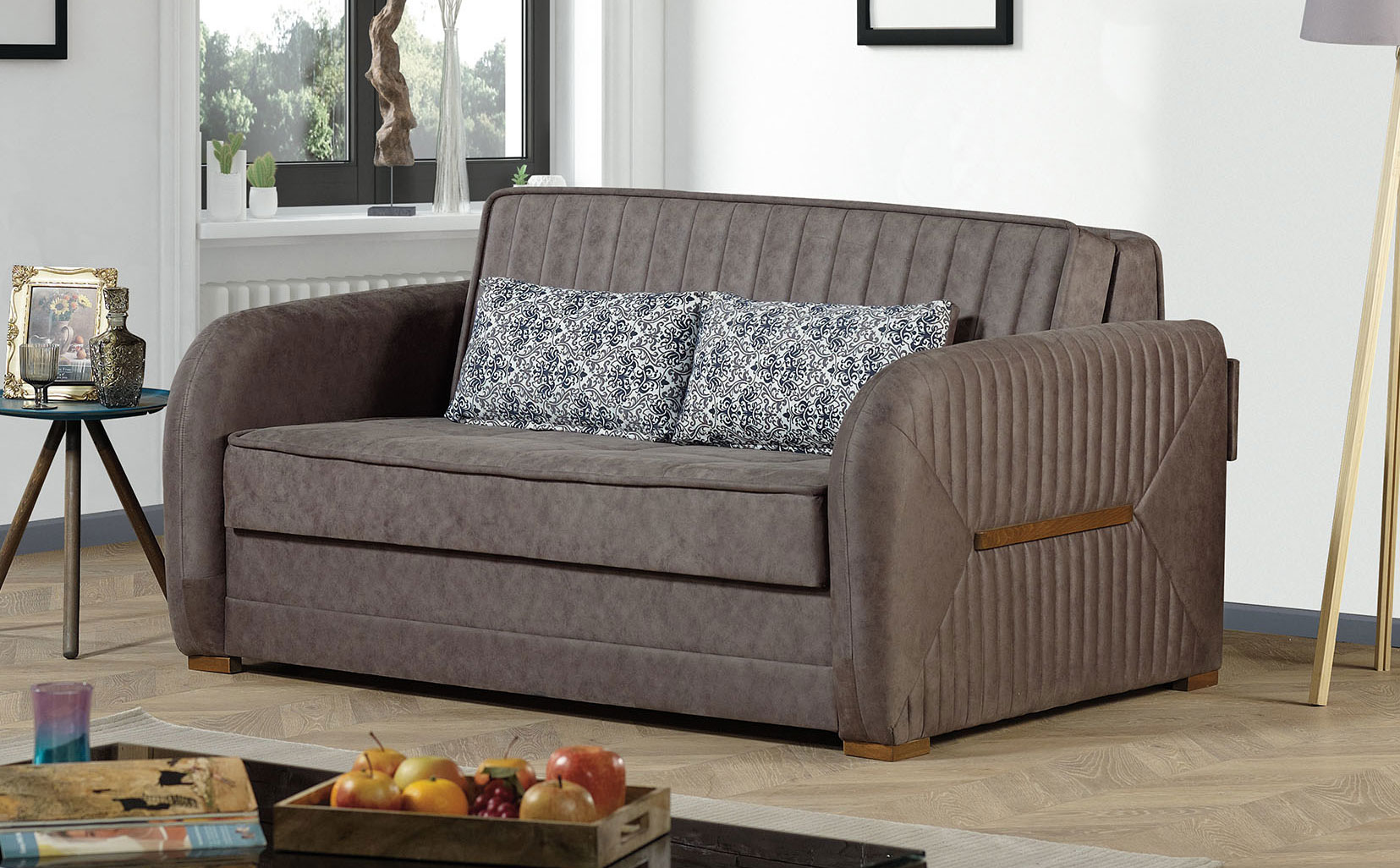 Speedy Gray Fabric Convertible Loveseat by Casamode