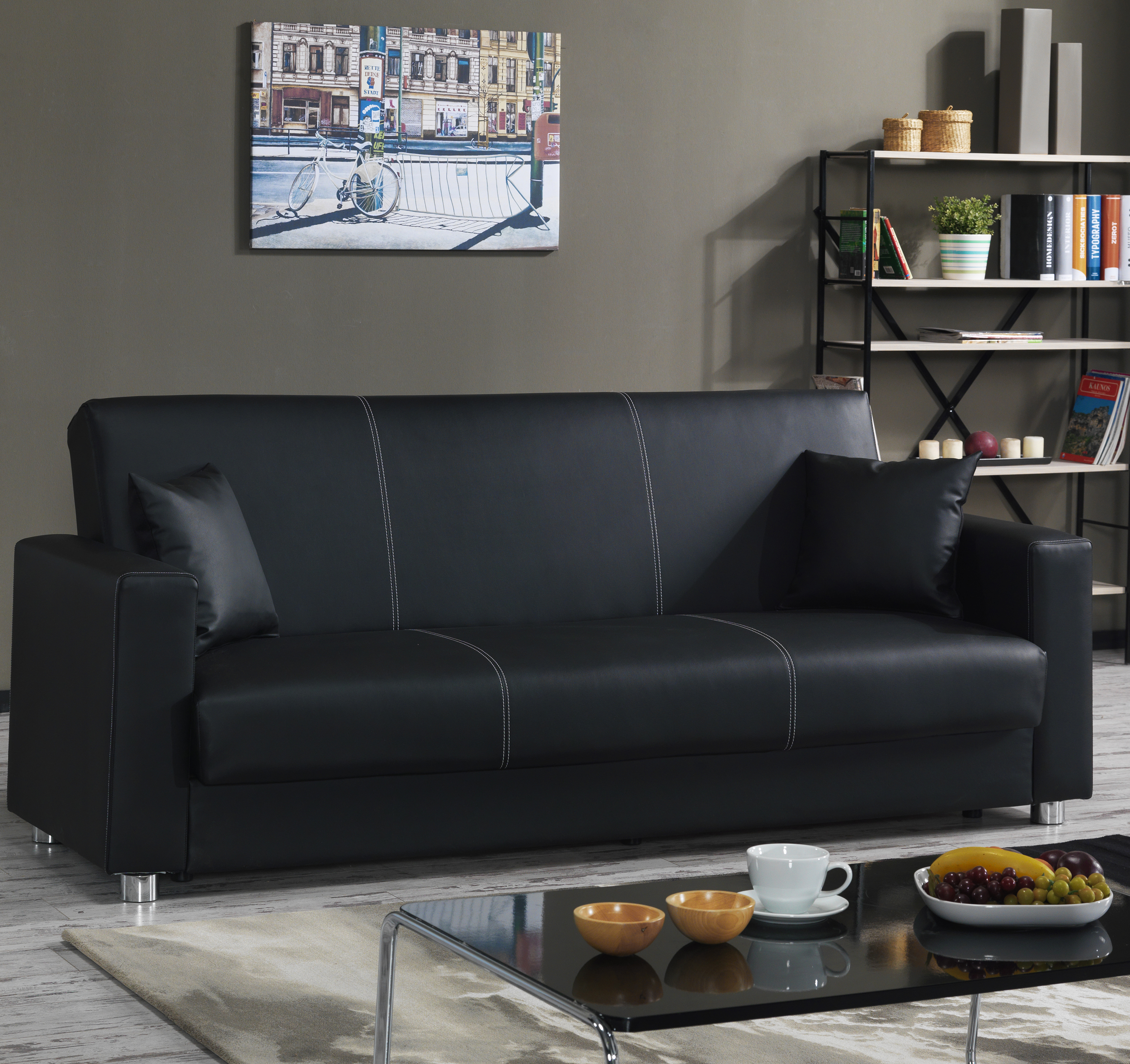 Tempo Black Leatherette Convertible Sofa by Casamode