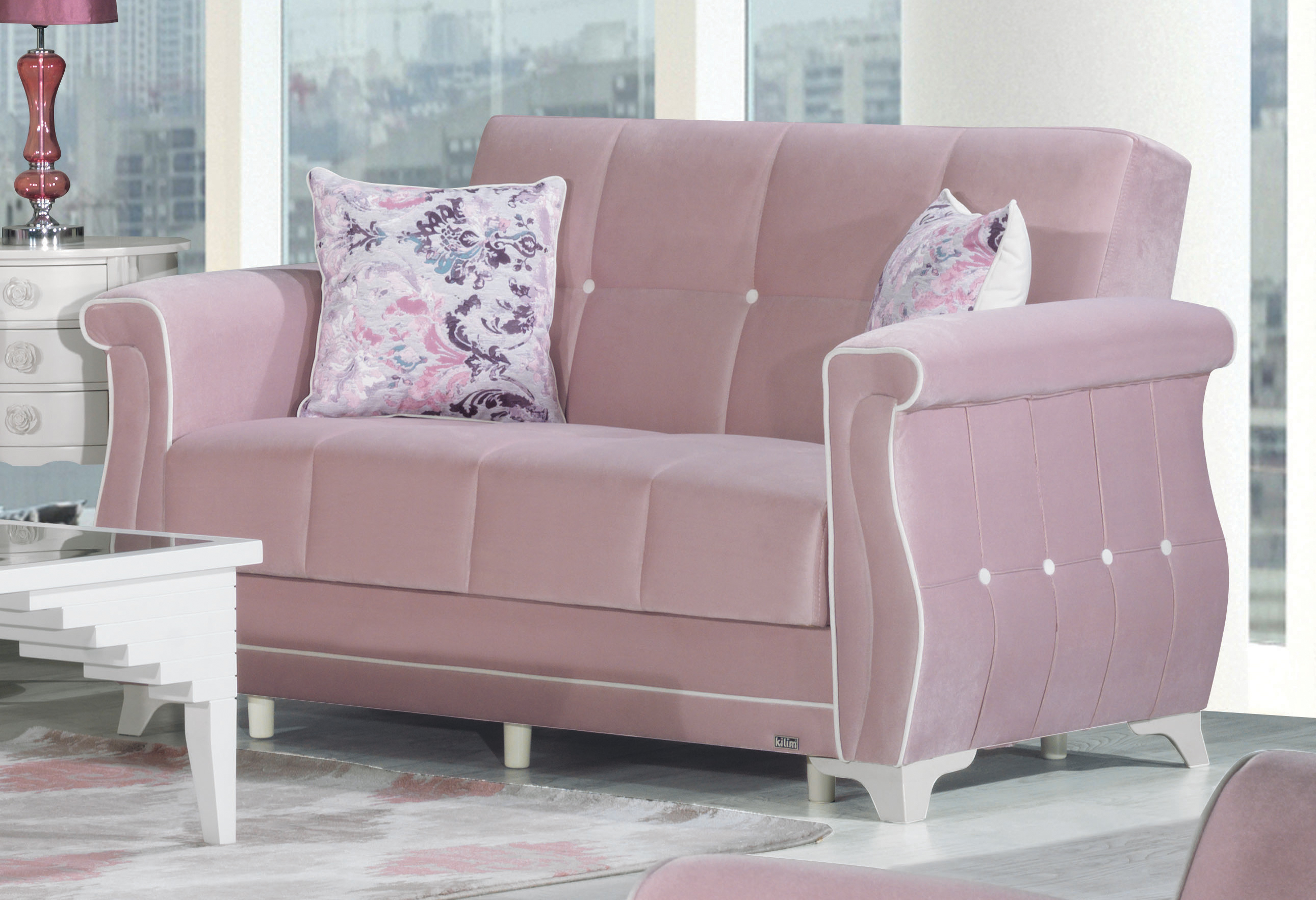 zigana pink convertible loveseat by casamode -