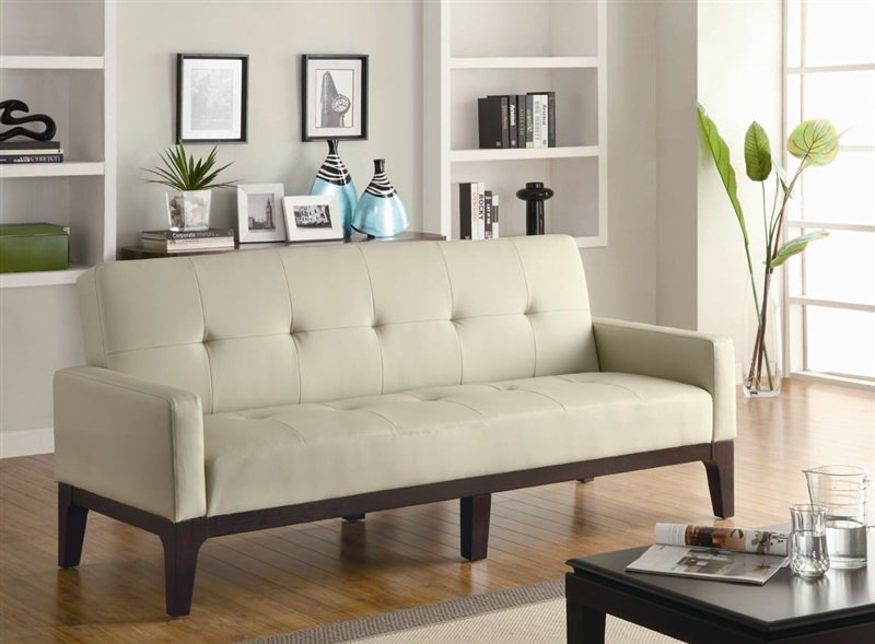 Ledersofa creme  300226 Sofa Bed in Creme by Coaster