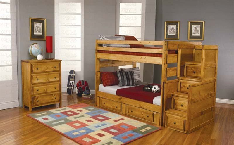 Full Over Full Bunk Bed In Amber Wash Finish By Coaster