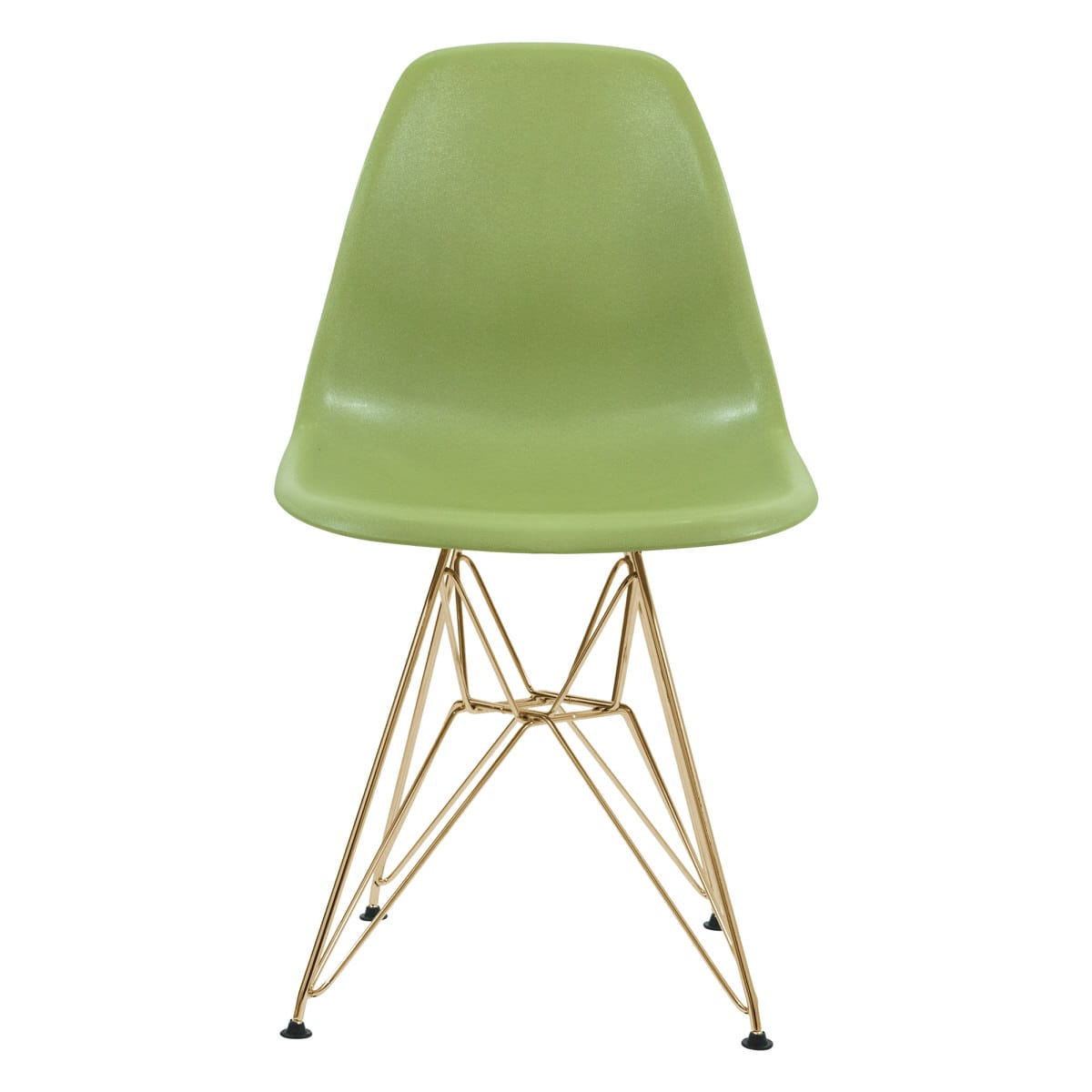 Cresco Molded Eiffel Solid Green Side Chair W/ Gold Base (Set Of 4) By  LeisureMod
