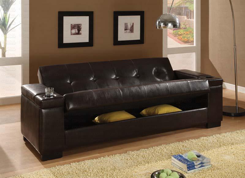 Dark Brown Pu 300143 Sofa Bed By Coaster