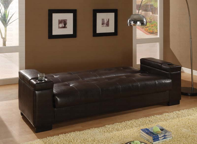 Dark Brown Pu 300143 Sofa Bed By Coaster