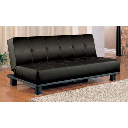 Sofa bed standard black vinyl by coaster for Sofa bed name