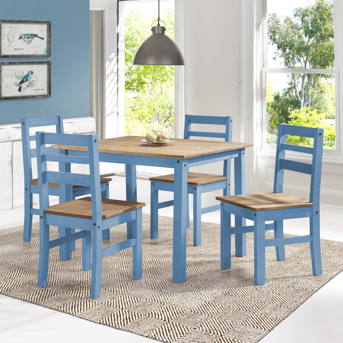 Maiden Blue Wash 5-Piece Solid Wood Dining Set by Manhattan Comfort