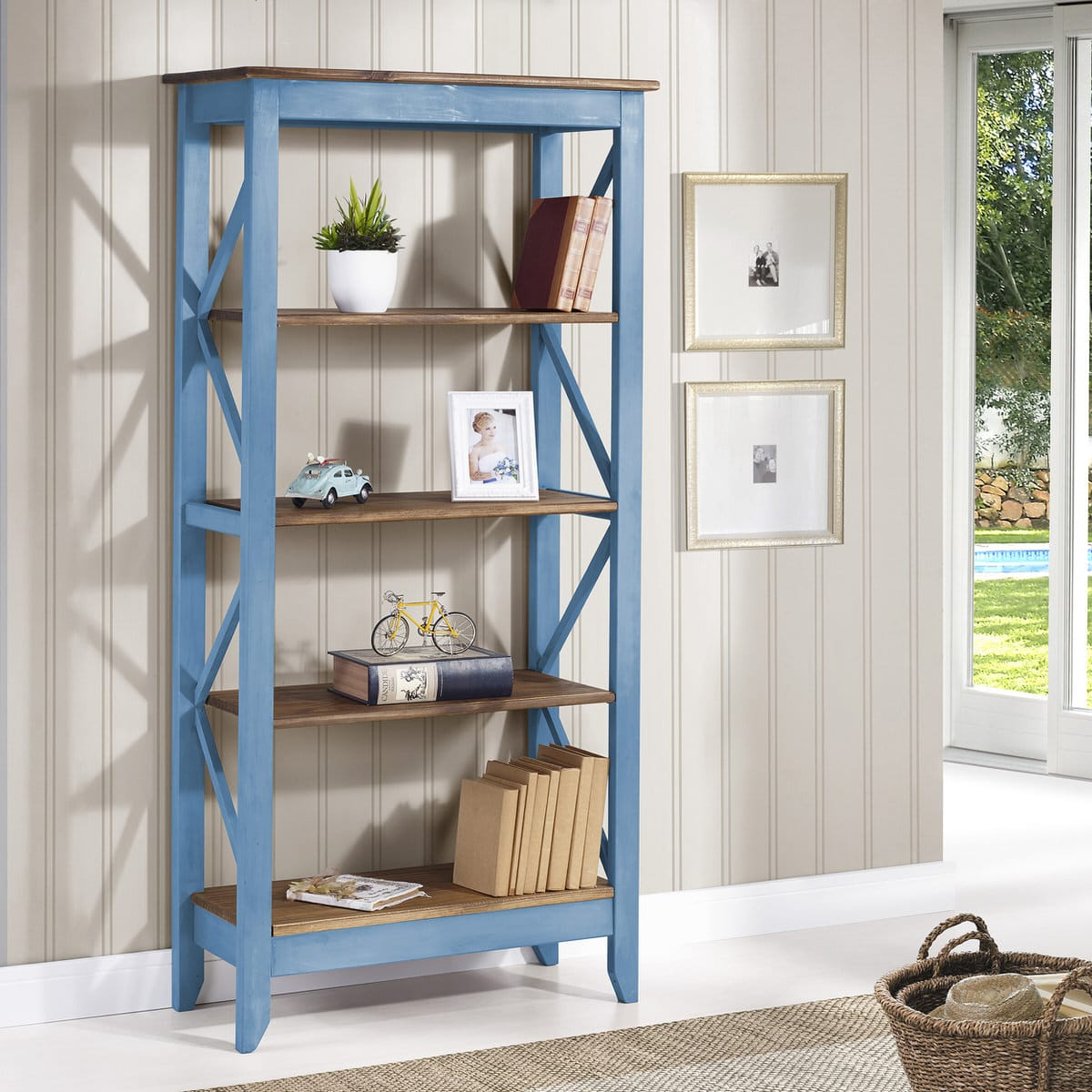 Jay Blue Wash 31.5 Inch Solid Wood Bookcase W/ 4 Shelves By Manhattan  Comfort