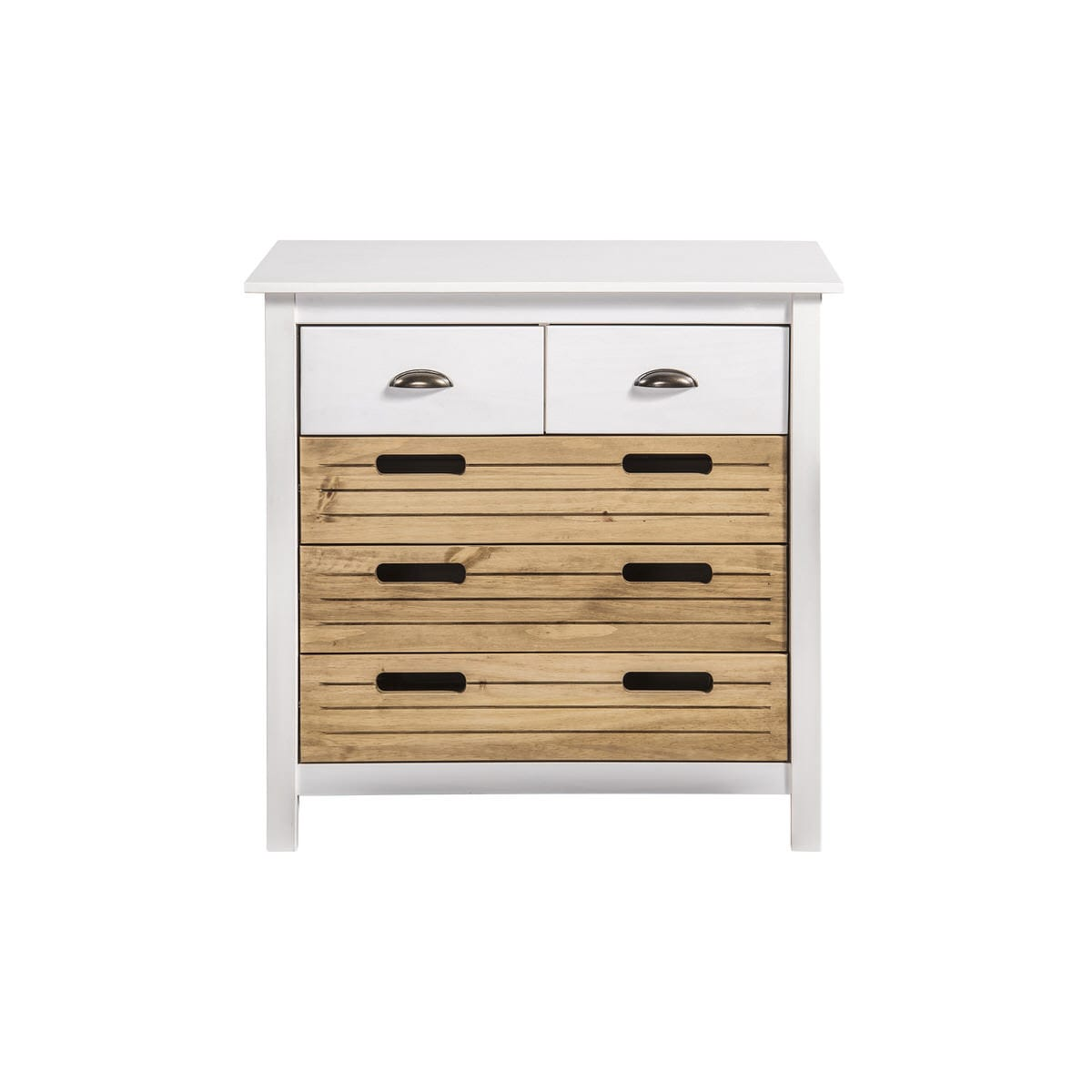 Irving Rustic Mid Century Modern 5 Drawer 31 1 Inch White Natural Wood Wide Dresser 2 0 By Manhattan Comfort