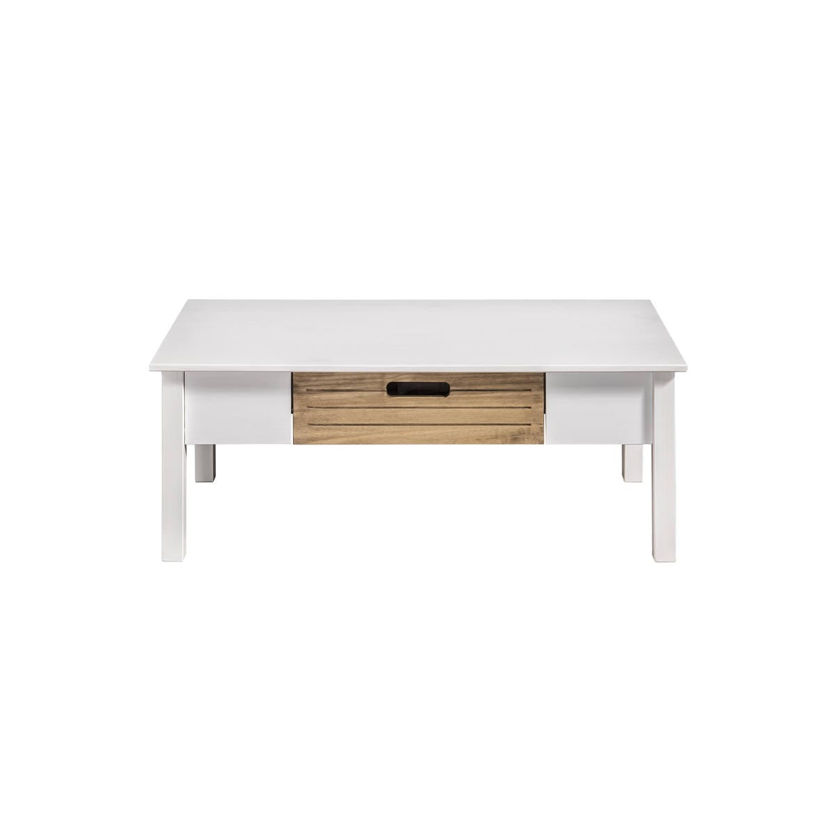 Irving Rustic Mid Century Modern White Natural Wood Coffee