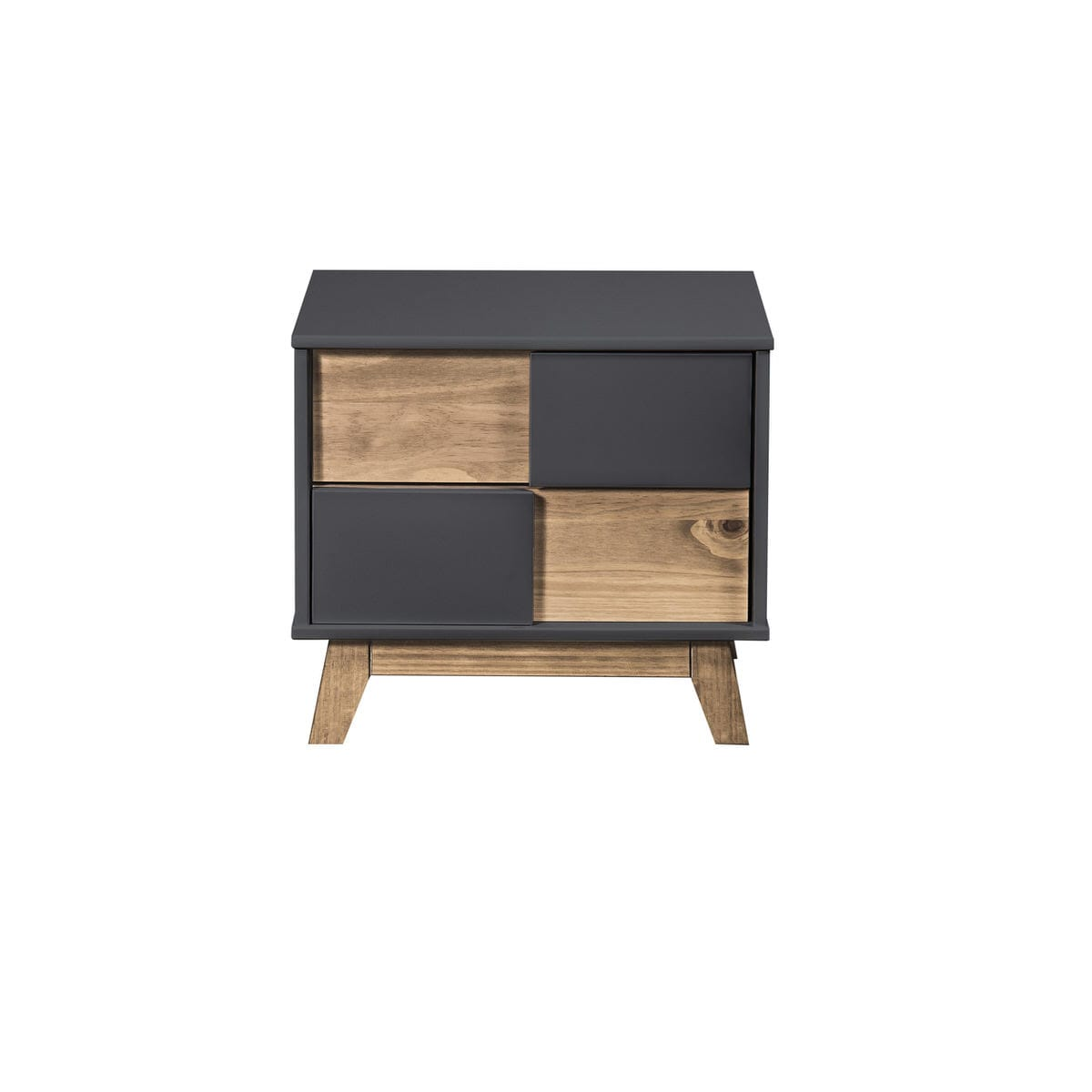 Mid Century Rustic Modern Livonia 2 Drawer Dark Grey Natural Wood Nightstand By Manhattan Comfort