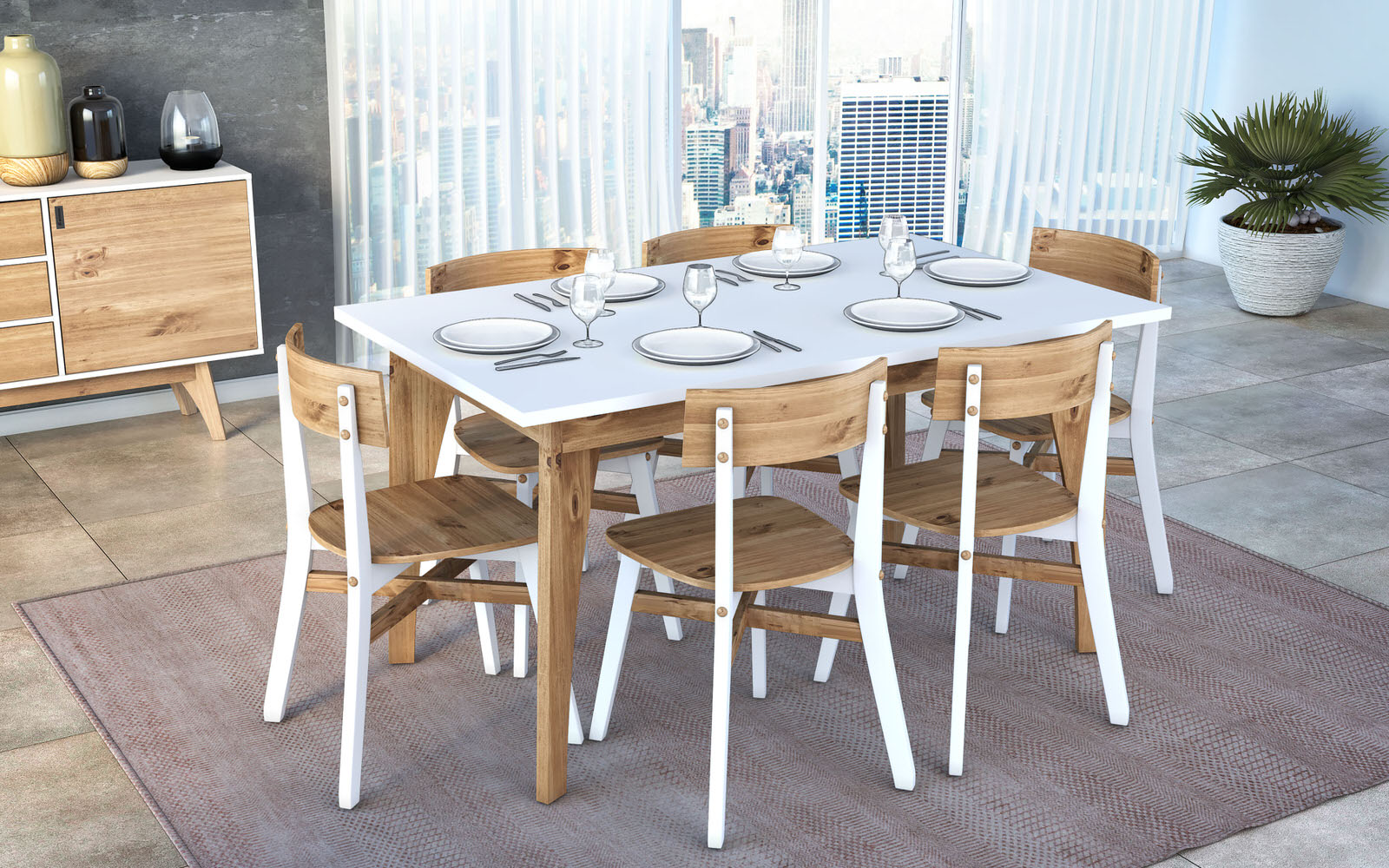 Rustic Mid Century Modern Jackie 6 Seating White U0026 Natural Wood Dining Table  By Manhattan Comfort
