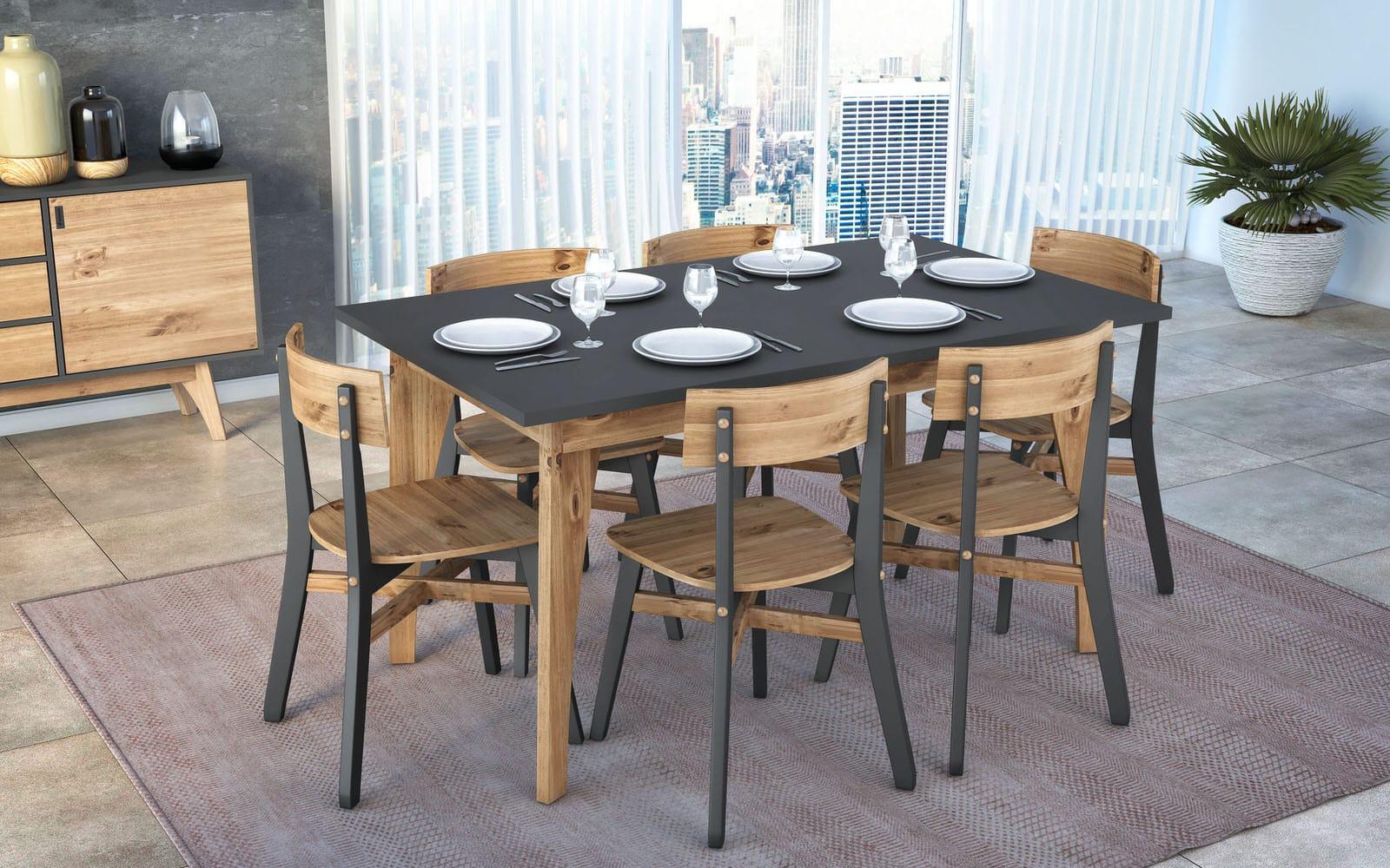 Rustic Mid Century Modern Jackie 6 Seating Dark Grey U0026 Natural Wood Dining  Table By Manhattan Comfort