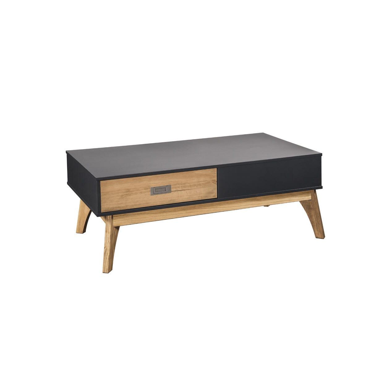 Rustic Mid Century Modern 2 Drawer Jackie 1 0 Dark Grey Natural Wood Coffee Table By Manhattan Comfort