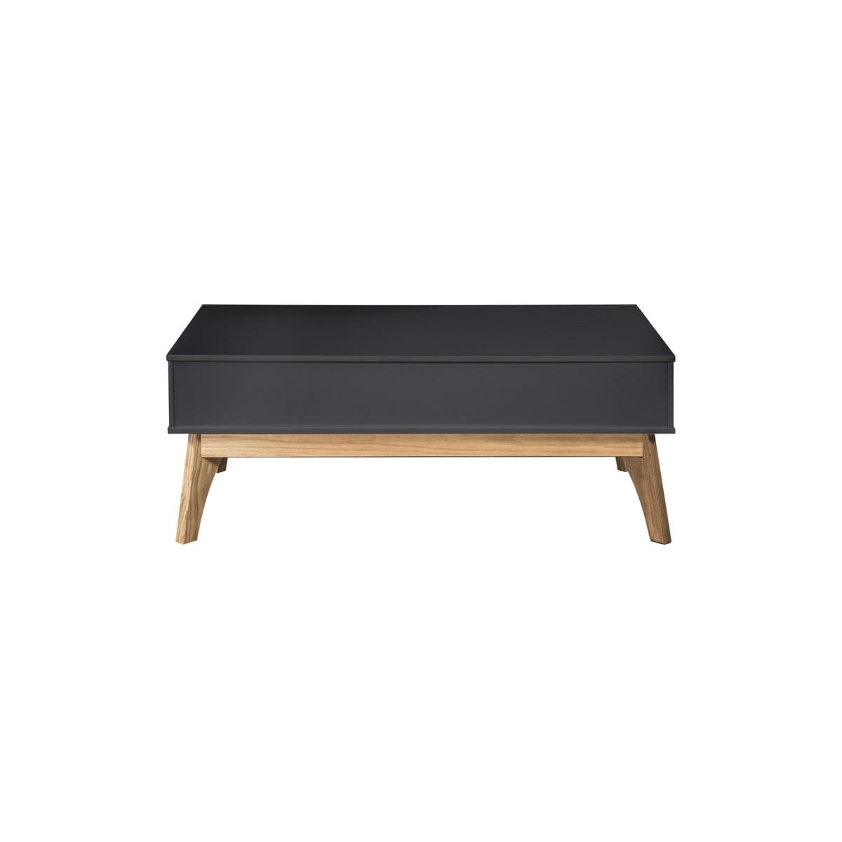 Picture of: Rustic Mid Century Modern 2 Drawer Jackie 1 0 Dark Grey Natural Wood Coffee Table By Manhattan Comfort