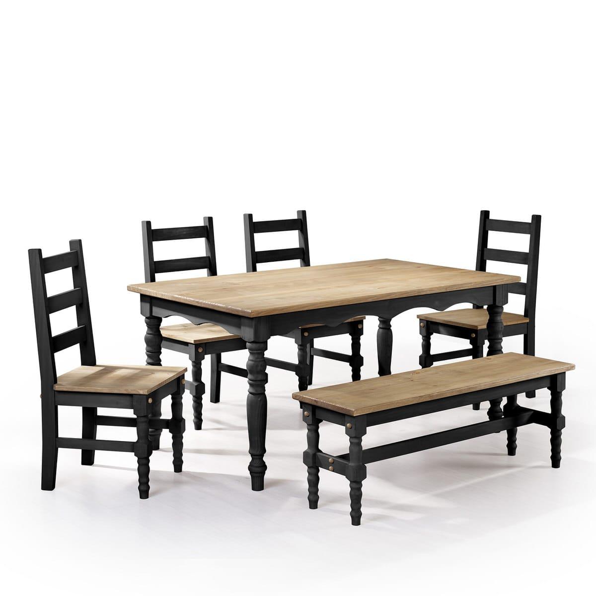 Groovy Jay Black Wash 6 Piece Solid Wood Dining Set By Manhattan Comfort Ibusinesslaw Wood Chair Design Ideas Ibusinesslaworg