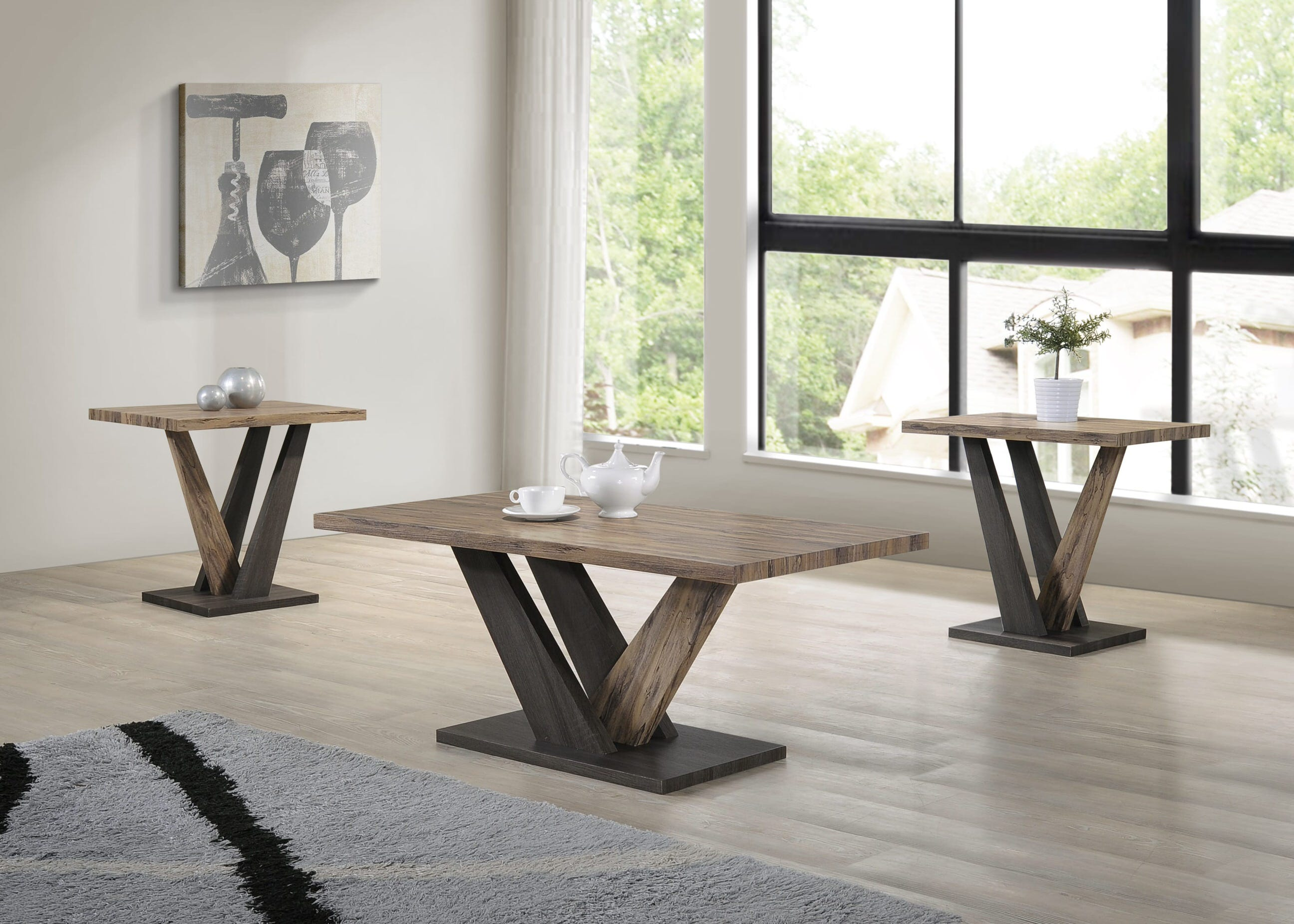 Carla Brown U0026 Dark Grey Wood 3 Piece Coffee Table Set
