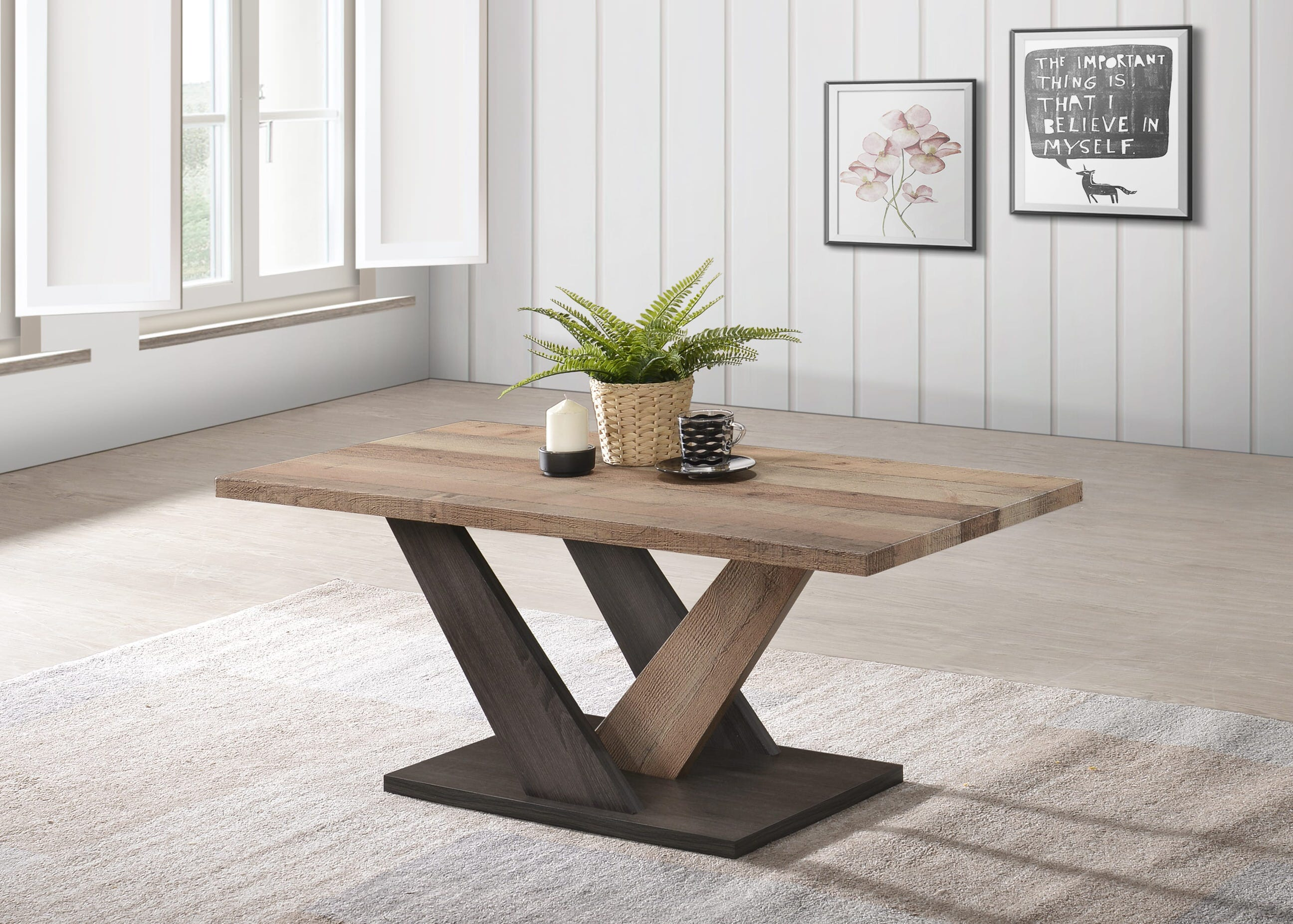 Carla Rustic Brown Dark Grey Wood Coffee Table By Casamode Functional Furniture