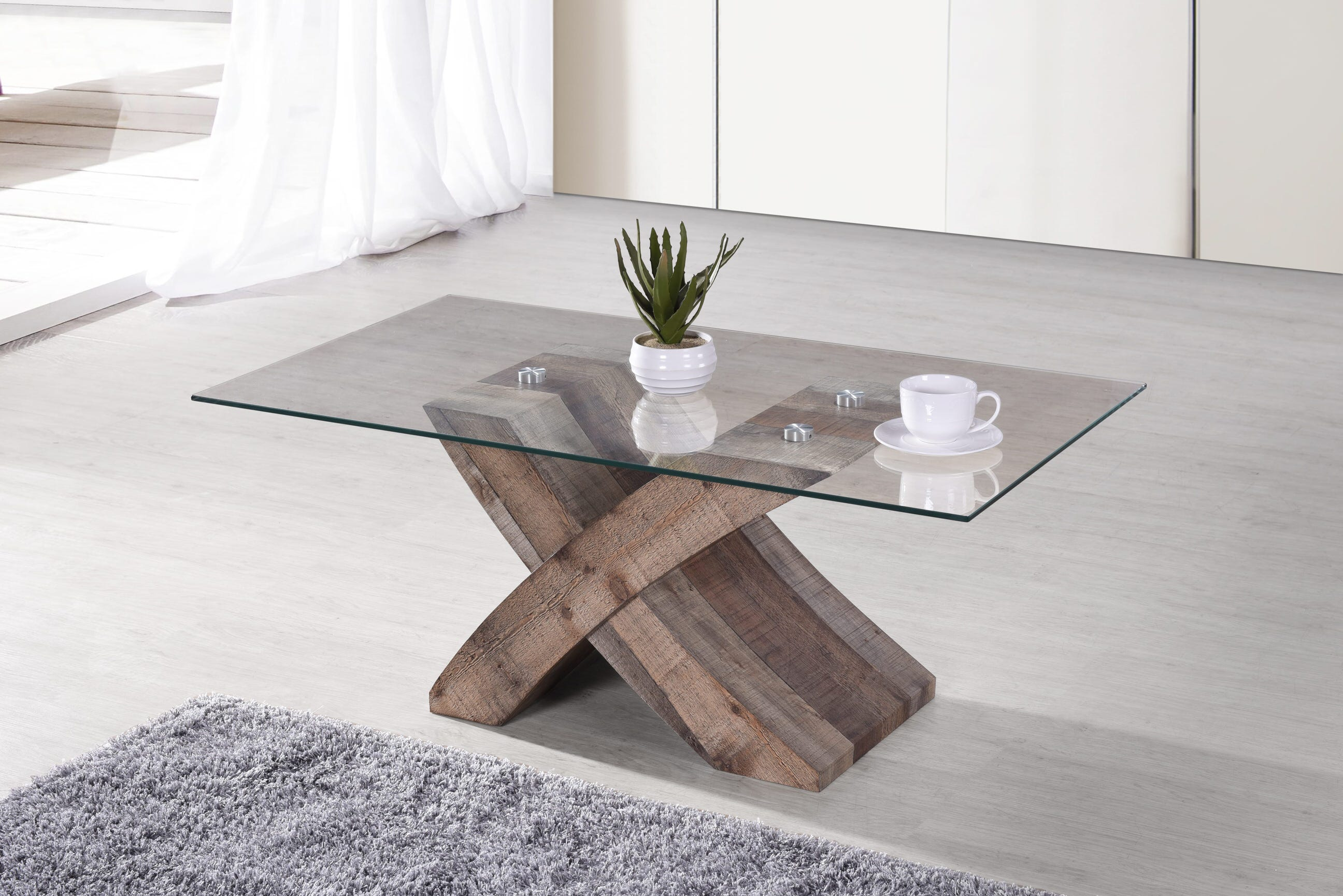 Elden Rustic Brown Wood Coffee Table W Tempered Gl Top By Casamode Functional Furniture