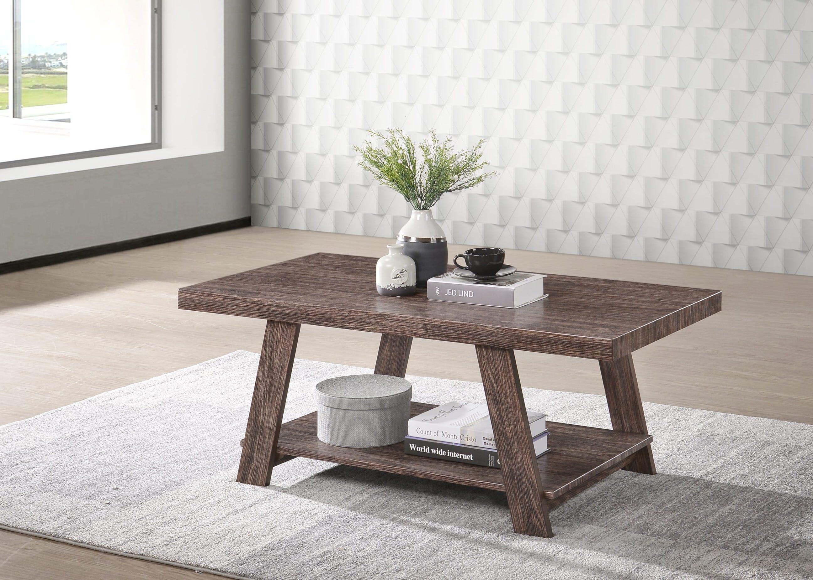 - Gustine Oak Dark Brown Wood Coffee Table By Casamode