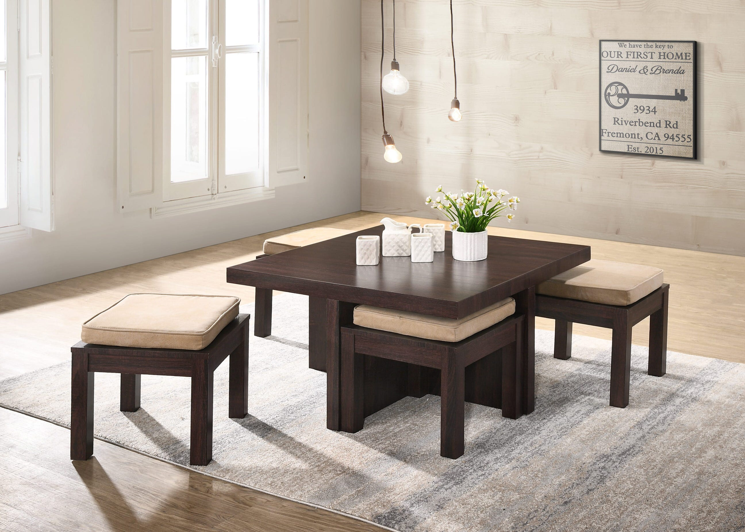 Mundy Cherry Brown Beige Wood 5 Pieces Set Coffee Table By Casamode Functional Furniture