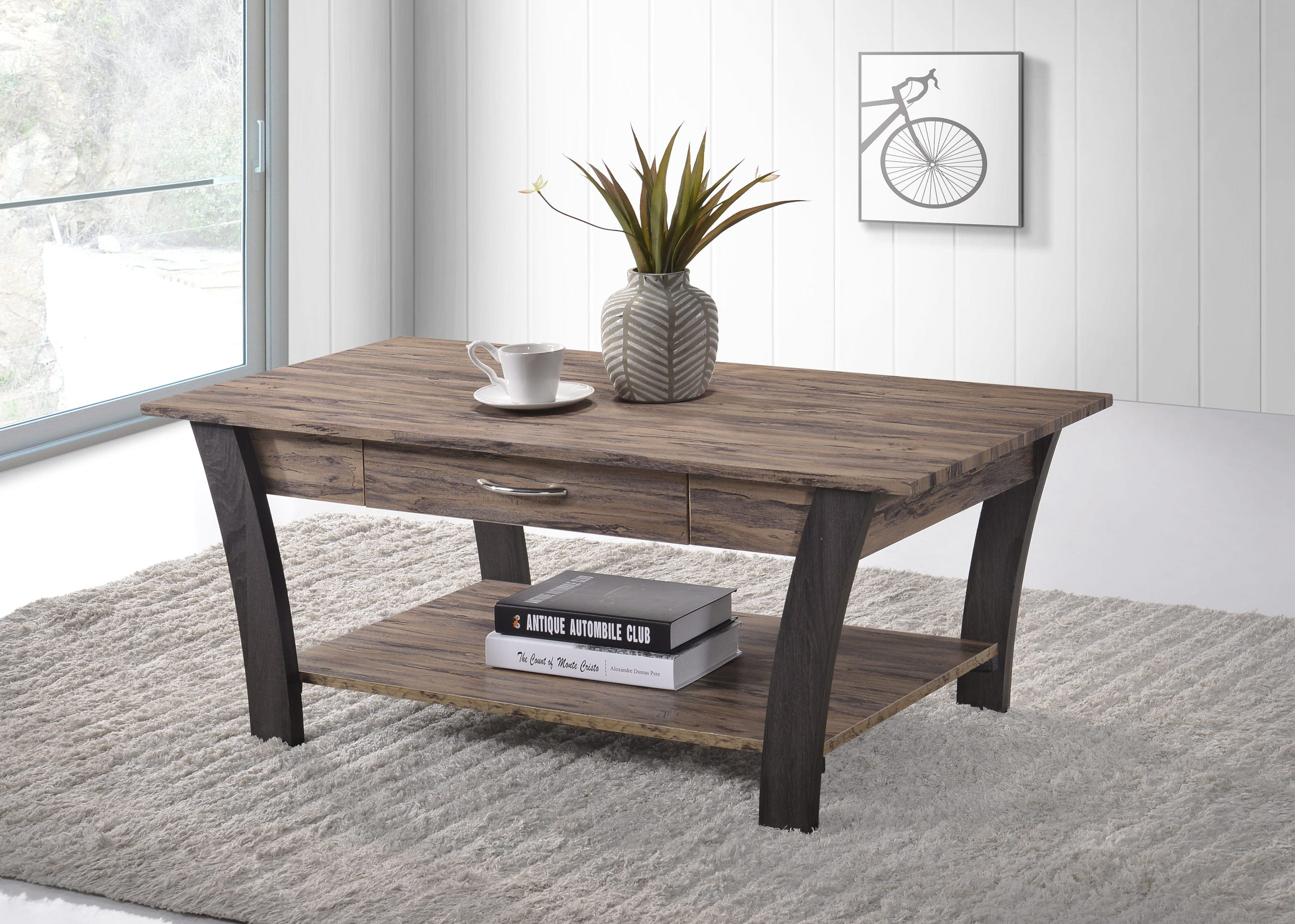 Zag Brown Dark Grey Wood Coffee Table By Casamode Functional Furniture
