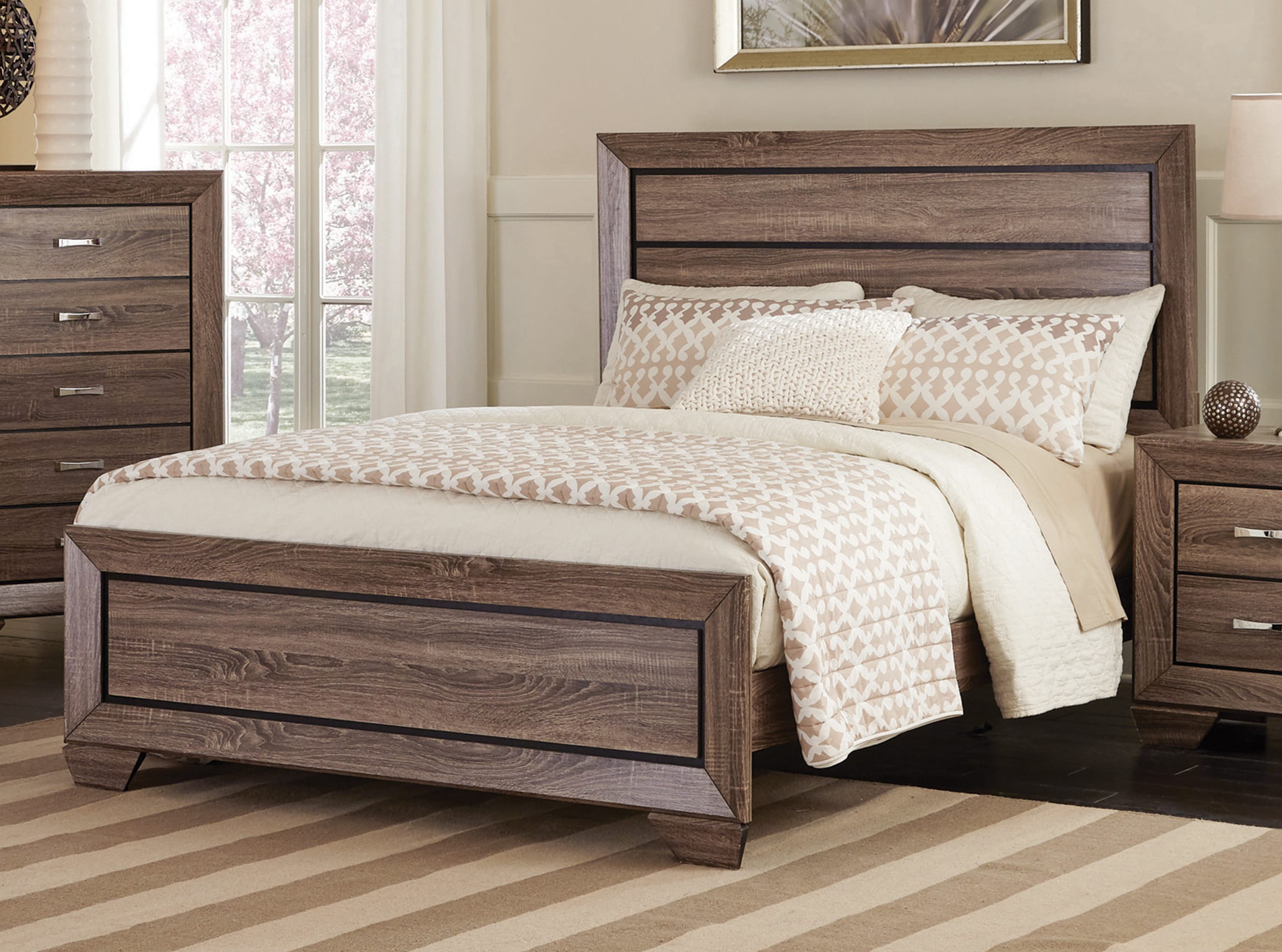 Kauffman Washed Taupe Bedroom Set By Coaster Fine Furniture